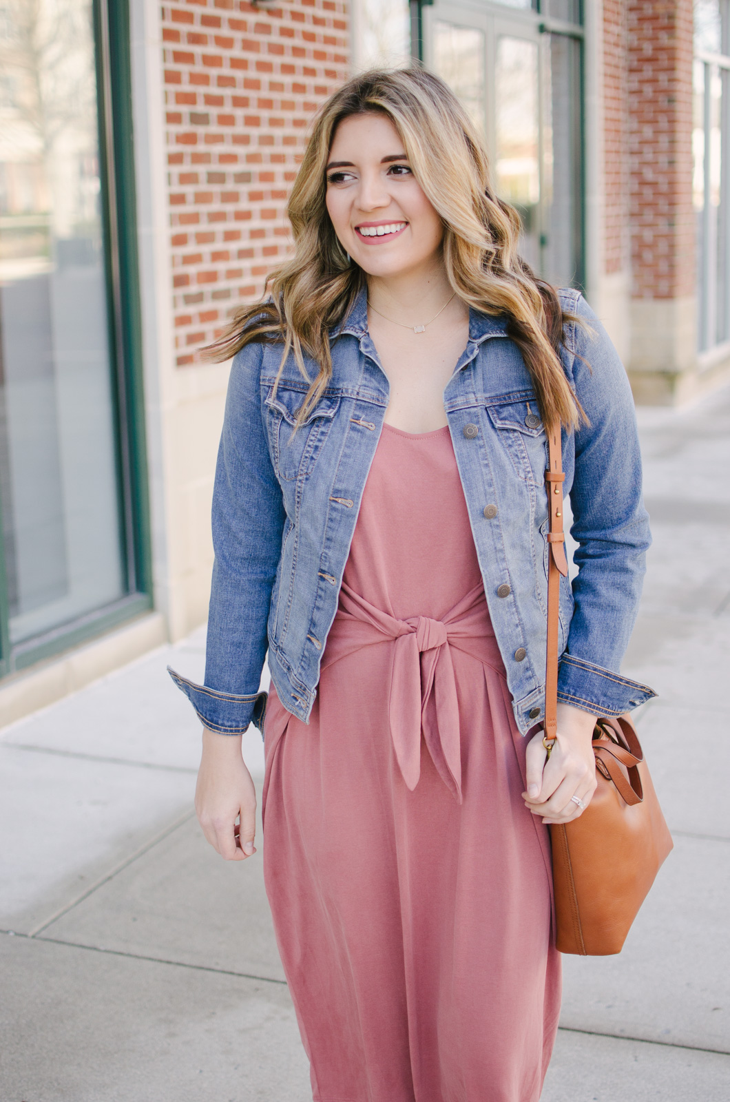 knotted midi dress outfit spring - how to wear a midi dress for spring! | Get outfit details for this spring midi dress outfit or see more cute spring outfit ideas at bylaurenm.com!