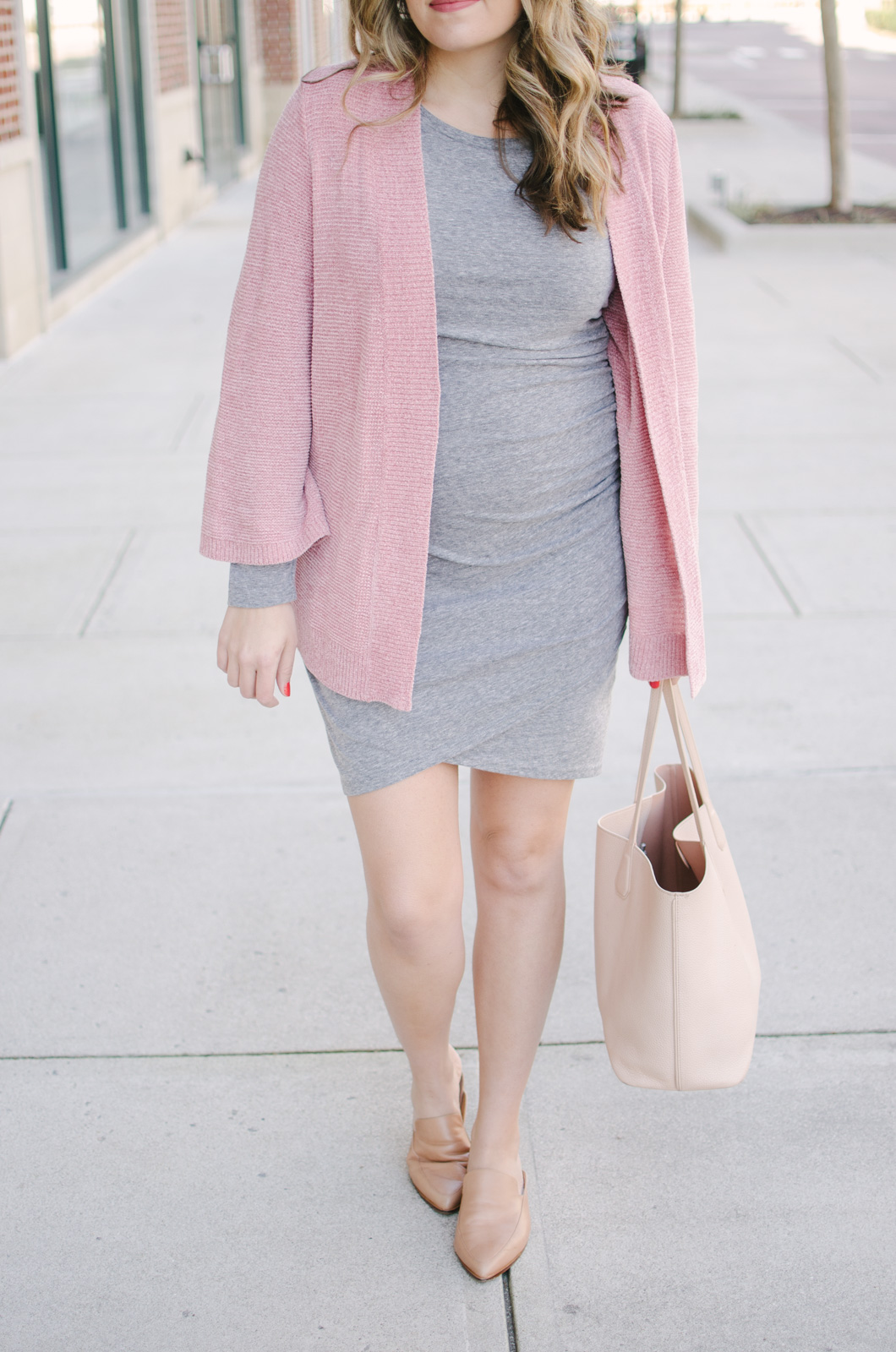 the perfect non-maternity dress for pregnancy - come see two more ways to wear this gray ruched dress at bylaurenm.com!
