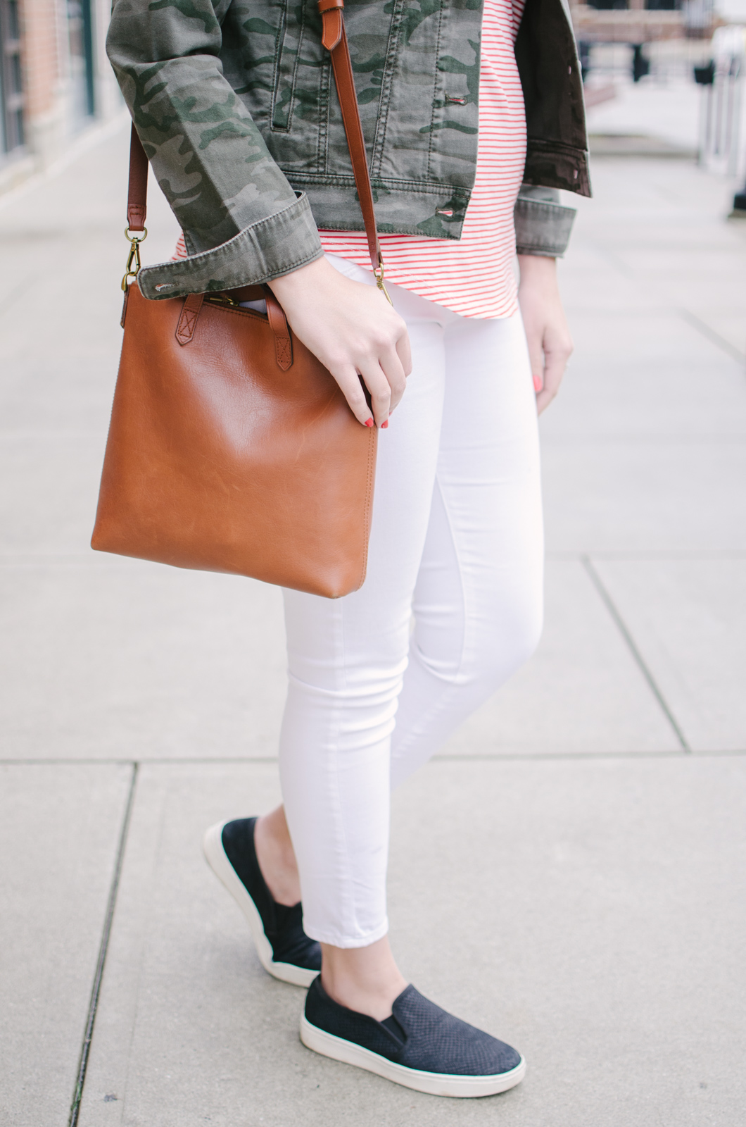 stripes and camo spring outfit - spring casual outfit | See more cute spring outfits at bylaurenm.com!