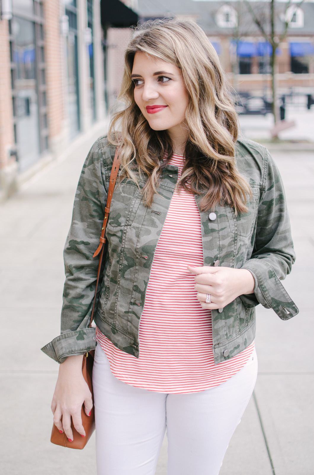 stripes and camo spring outfit - I love this cute print mix outfit for spring! | See more cute spring outfits at bylaurenm.com!