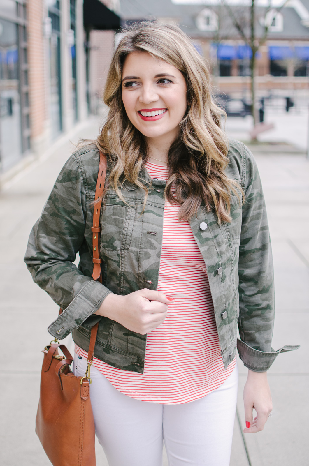 stripes and camo spring outfit - spring print mix outfit | See more cute spring outfits at bylaurenm.com!
