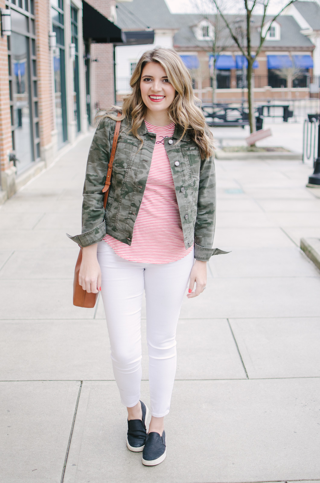 stripes camo spring outfit - cutest spring print mix! | See more cute spring outfits at bylaurenm.com!