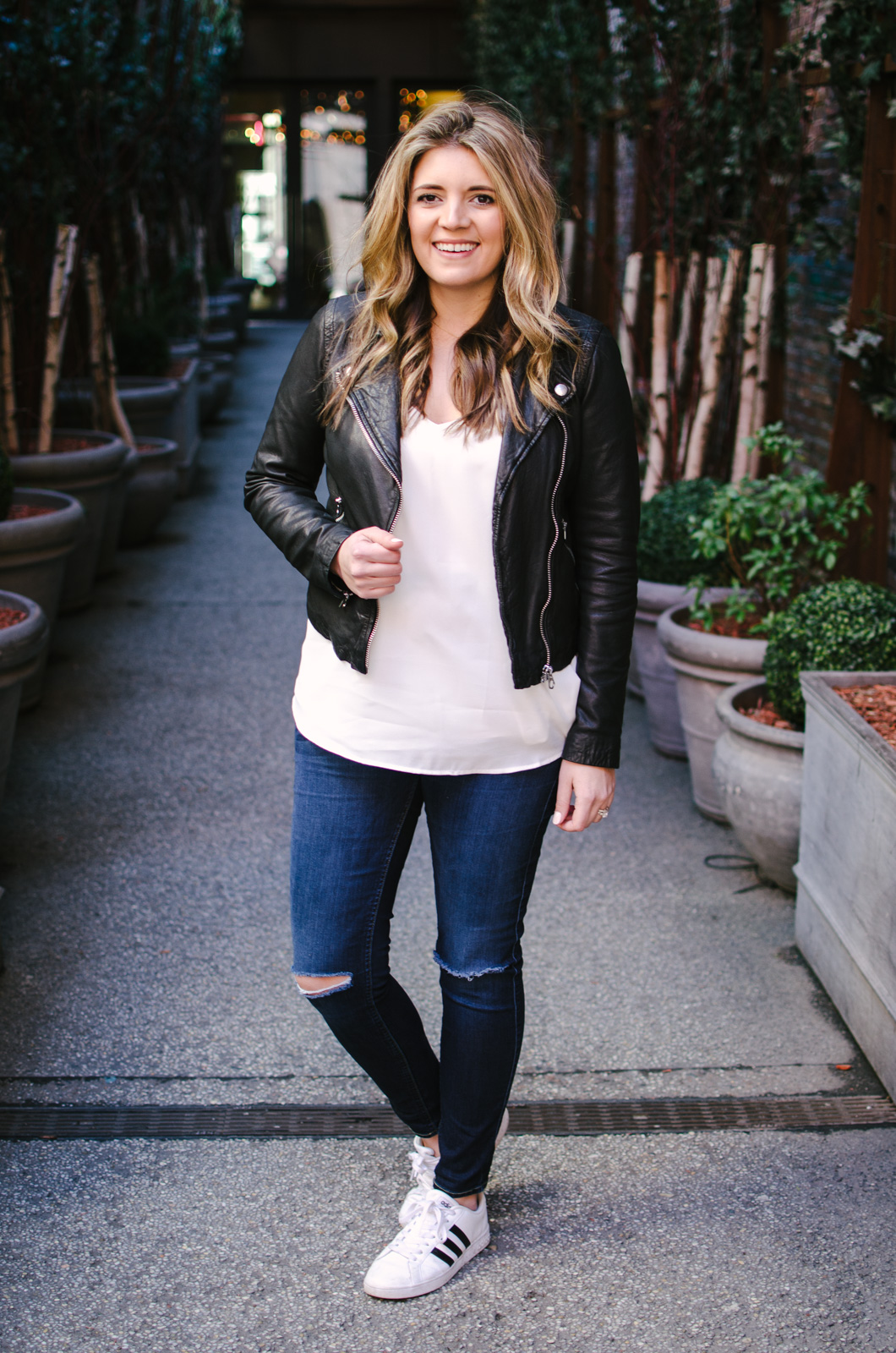 leather jacket with a cami spring outfit idea | bylaurenm.com