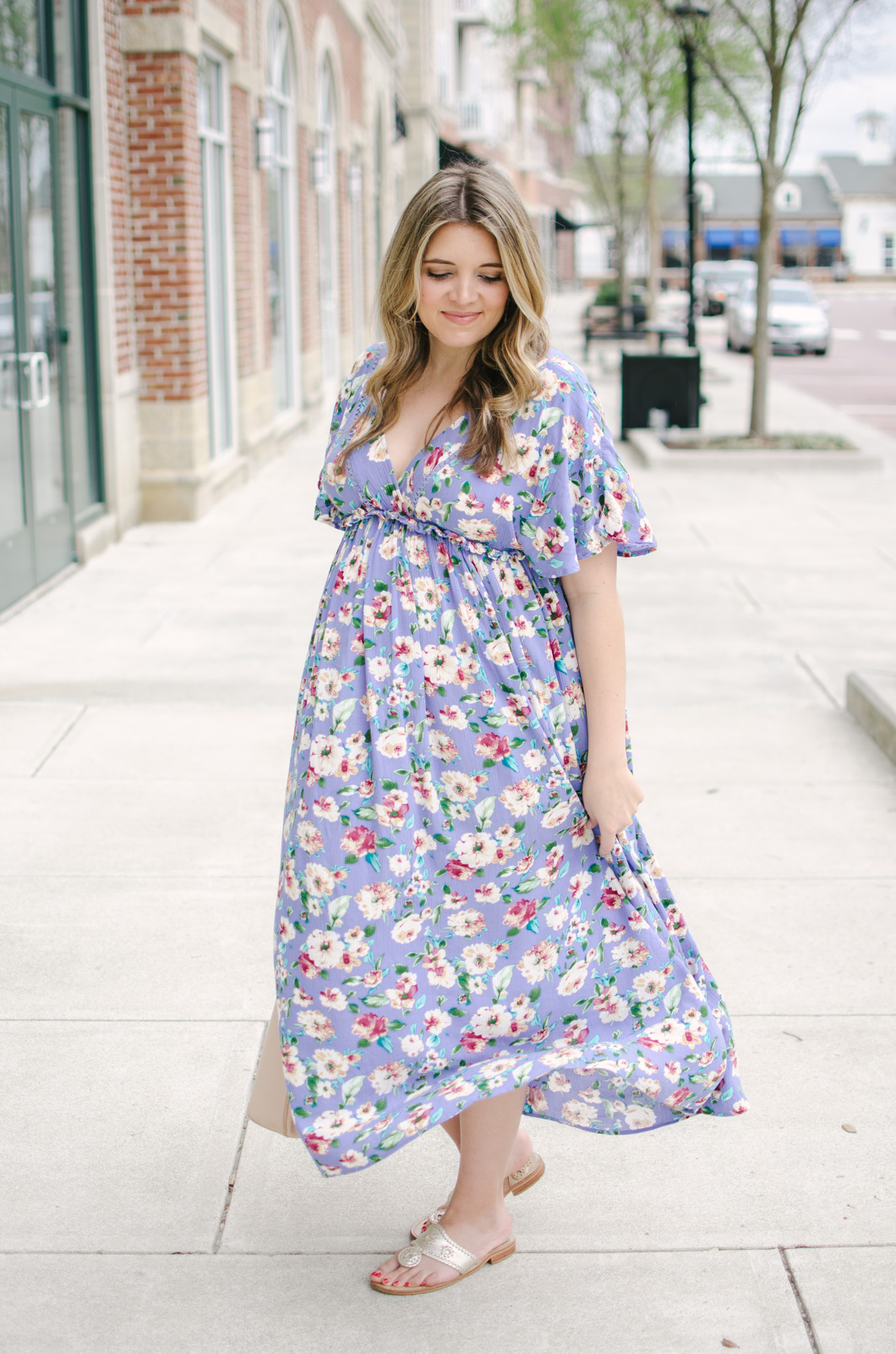 spring maternity outfit maxi dress - floral non-maternity maxi dress second trimester outfit | bylaurenm.com