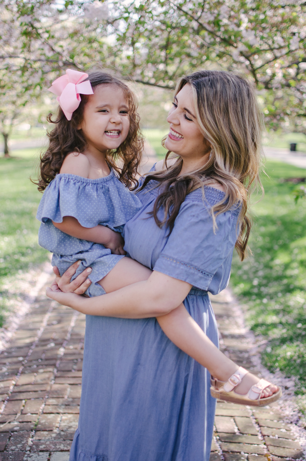 spring mommy and me outfits - chambray mother daughter outfits | For more mommy and me outfits, see bylaurenm.com!