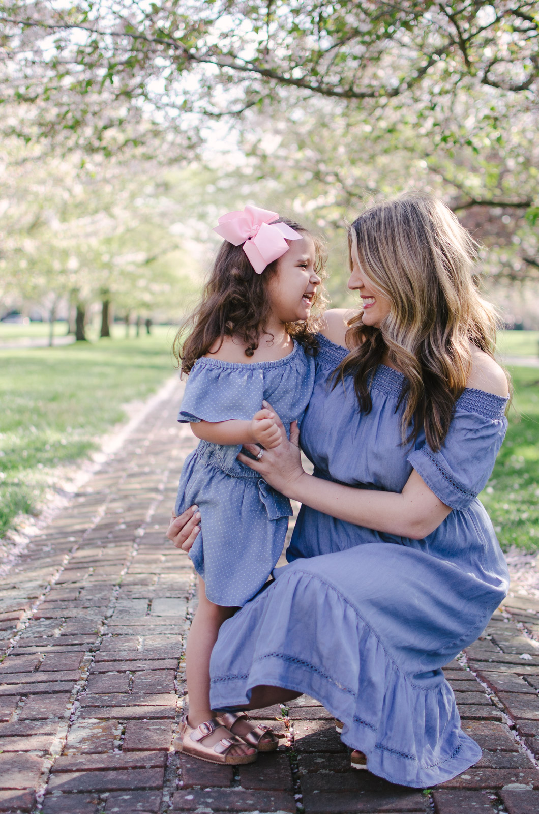 mommy and me spring outfits - mother daughter matching chambray dresses | For more mommy and me outfits, see bylaurenm.com!