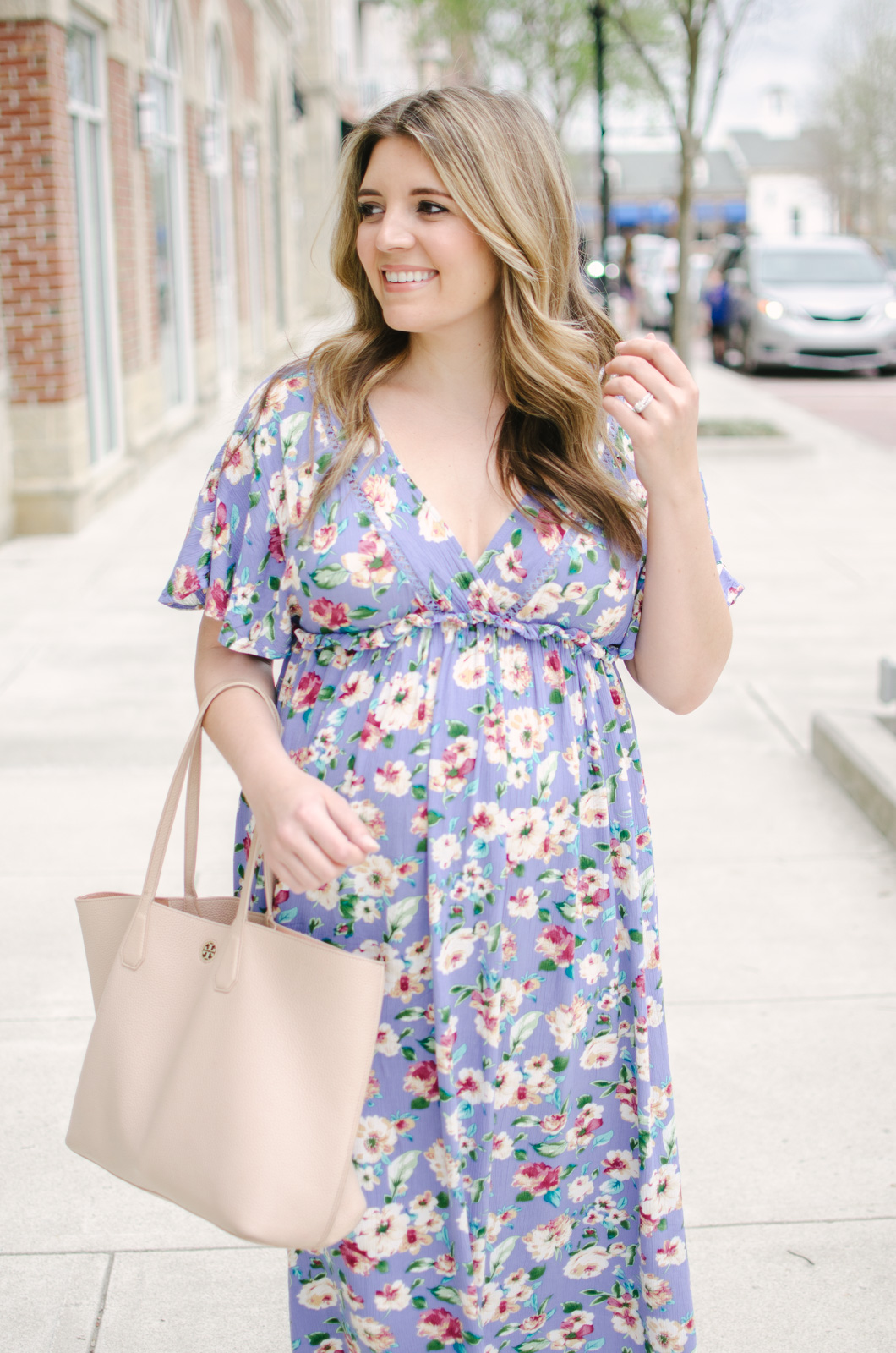 floral maxi dress maternity - spring maternity outfit | bylaurenm.com