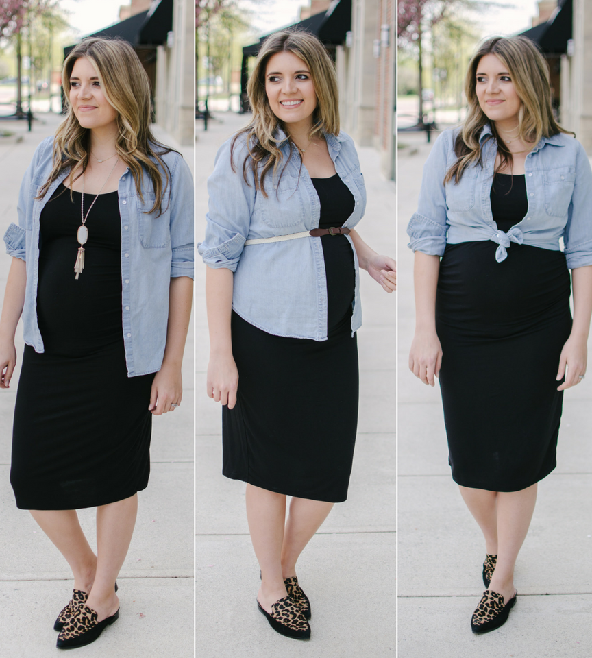 three chambray top pregnancy outfits | three ways to wear a chambray shirt during pregnancy bylaurenm.com