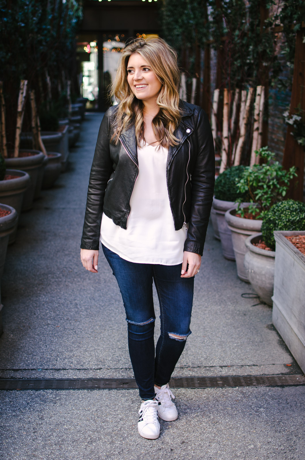 cami and a leather jacket outfit - maternity leather jacket outfit | bylaurenm.com