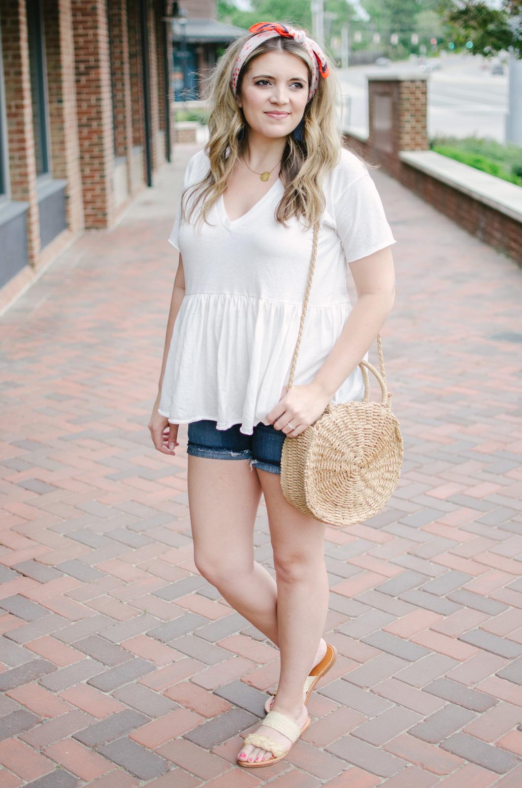 peplum top casual summer outfit | bylaurenm.com