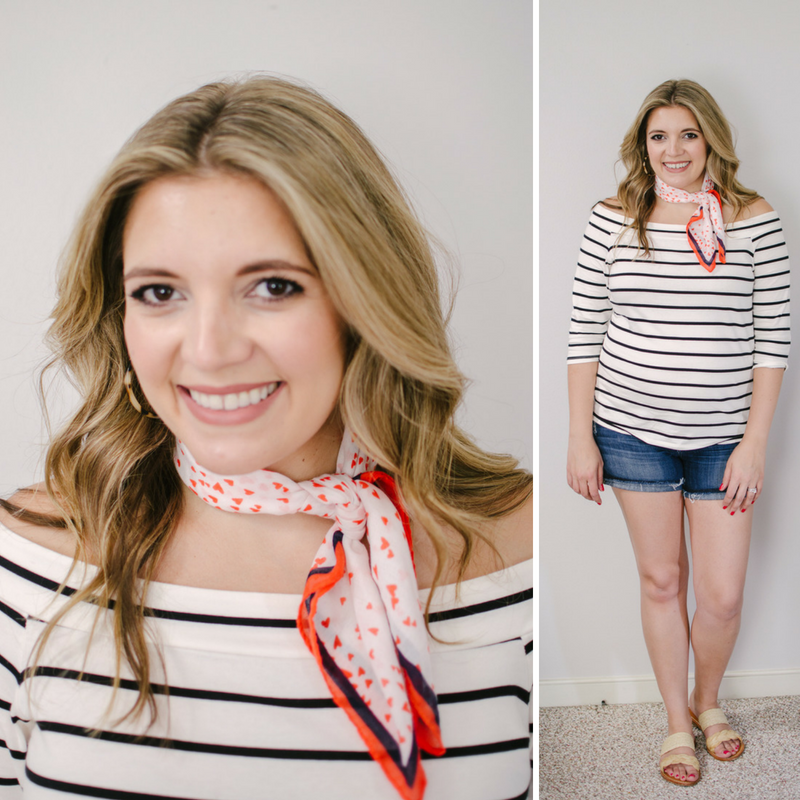 how to wear a scarf around neck | Click through to see the other neck scarf ideas, including five ways to wear them in your hair! | bylaurenm.com