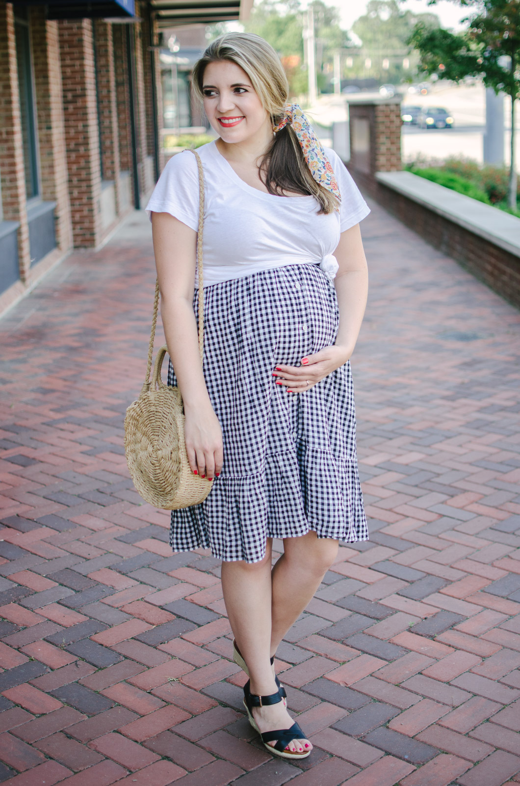 midi skirt pregnancy style - how to wear a non-maternity skirt pregnant | bylaurenm.com
