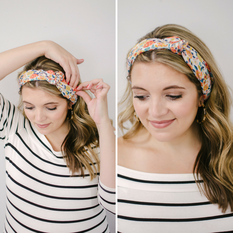 how tie a head scarf - eight ways to wear a small scarf! | Click through to see the other scarf ideas, including four more ways to wear them in your hair! | bylaurenm.com