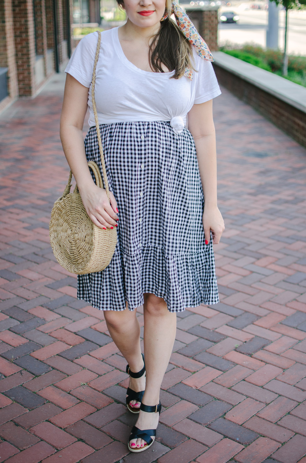 gingham midi skirt with knotted tee pregnancy style - how to wear a midi skirt pregnancy | bylaurenm.com