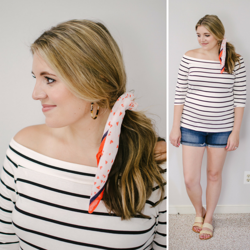 8 ways to wear a small scarf - tie a scarf in ponytail | Click through to see the other scarf ideas, including four more ways to wear them in your hair! | bylaurenm.com
