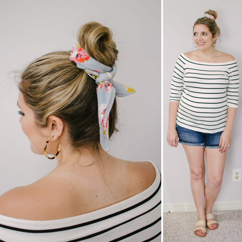 how to wear a scarf around a bun | Click through to see the other silk scarf ideas, including four more ways to wear them in your hair! | bylaurenm.com
