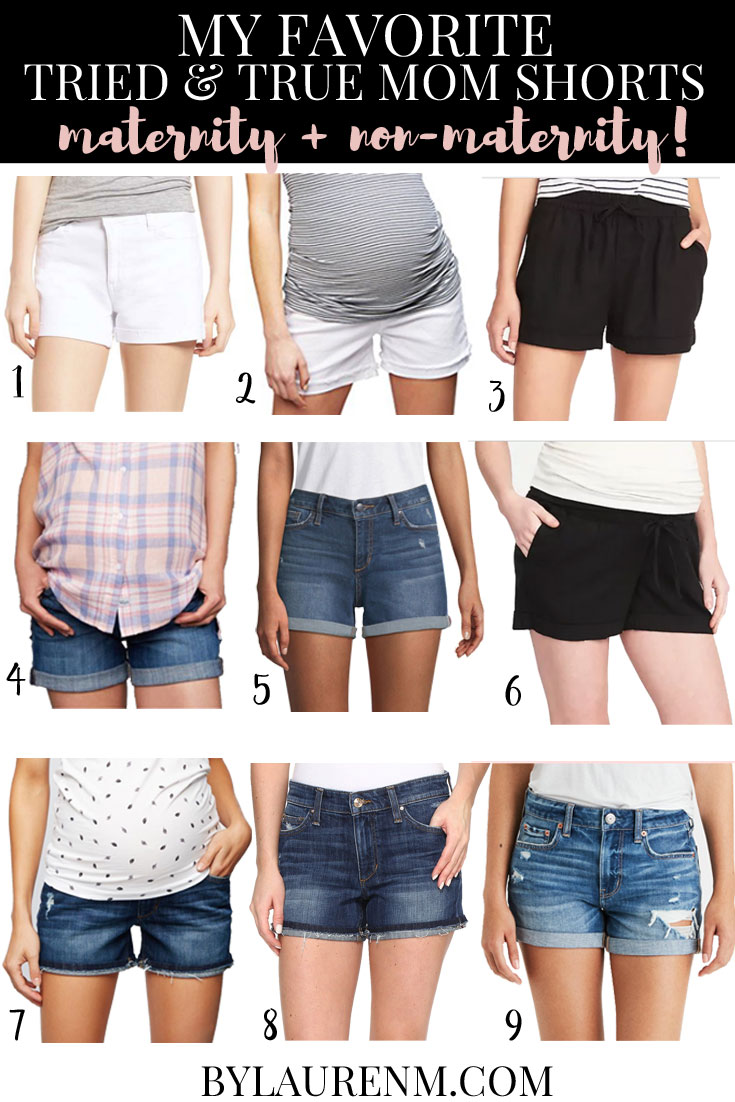 my favorite mom shorts - the tried and true pairs I wear every summer! Plus I included the maternity versions too! | bylaurenm.com