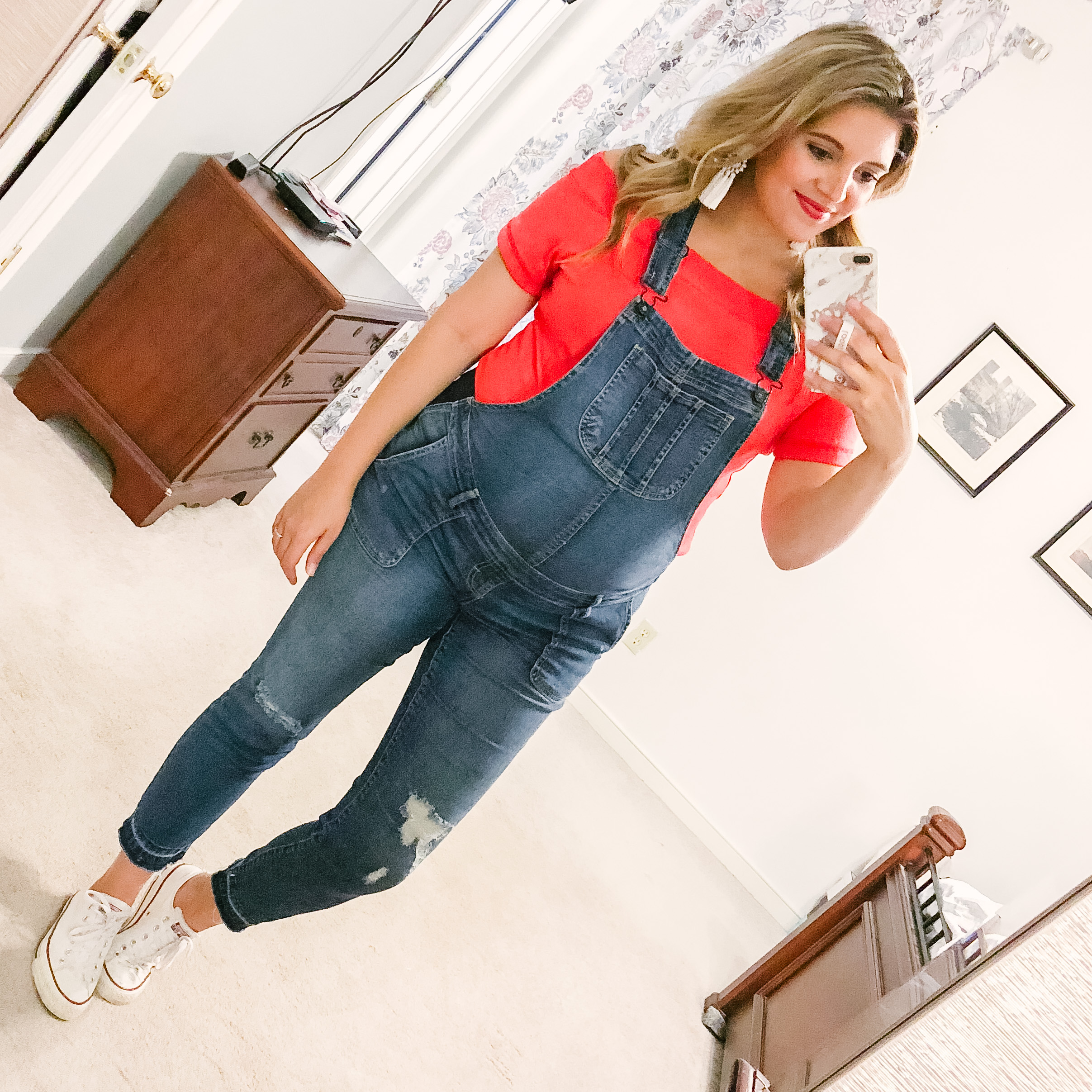 casual 4th of july outfit - red off shoulder tee and overalls! | patriotic outfit roundup - come see over 15 4th of july outfit ideas! bylaurenm.com