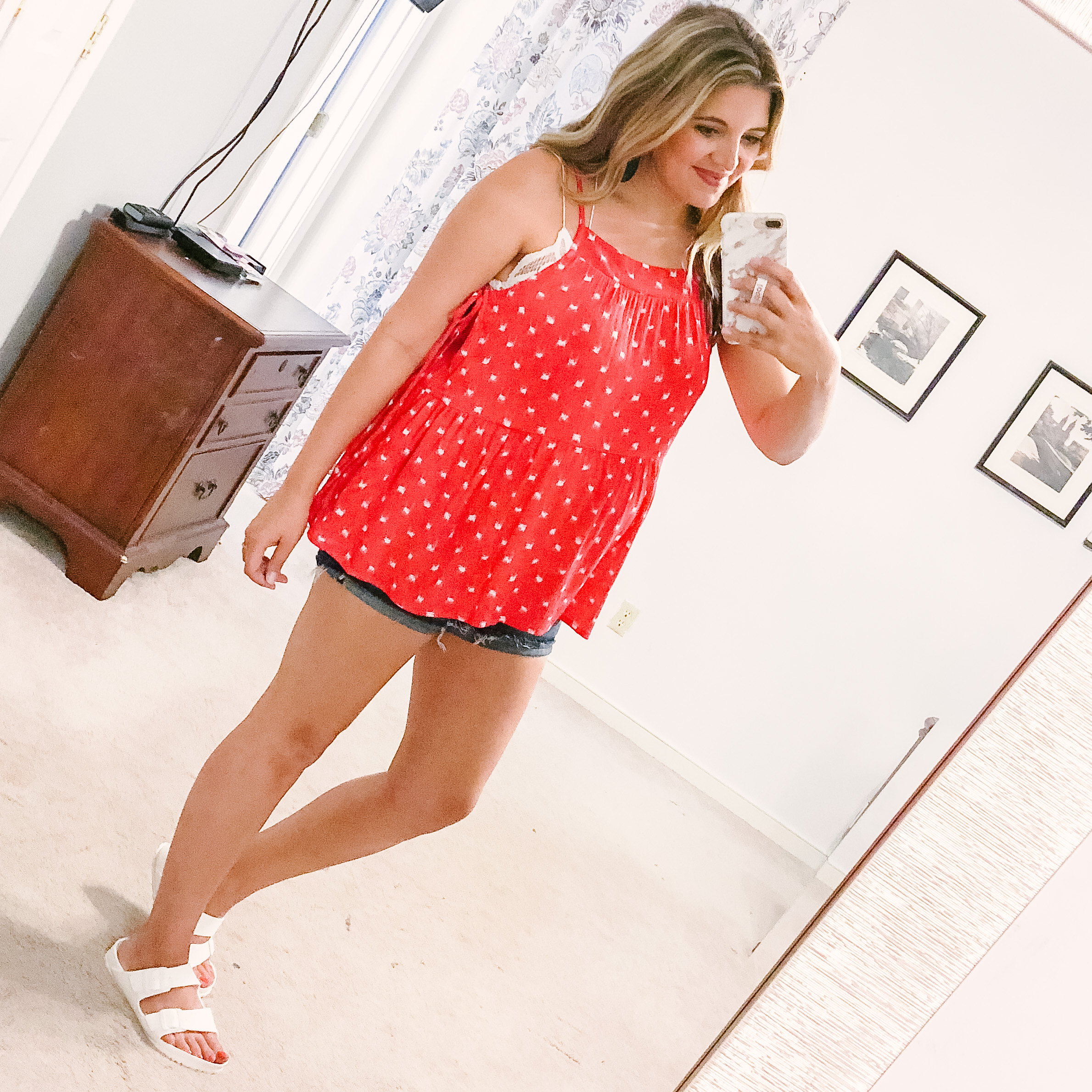 cute 4th of july outfit ideas - this red and white tank is only $13! | patriotic outfit roundup - come see over 15 4th of july outfit ideas! bylaurenm.com