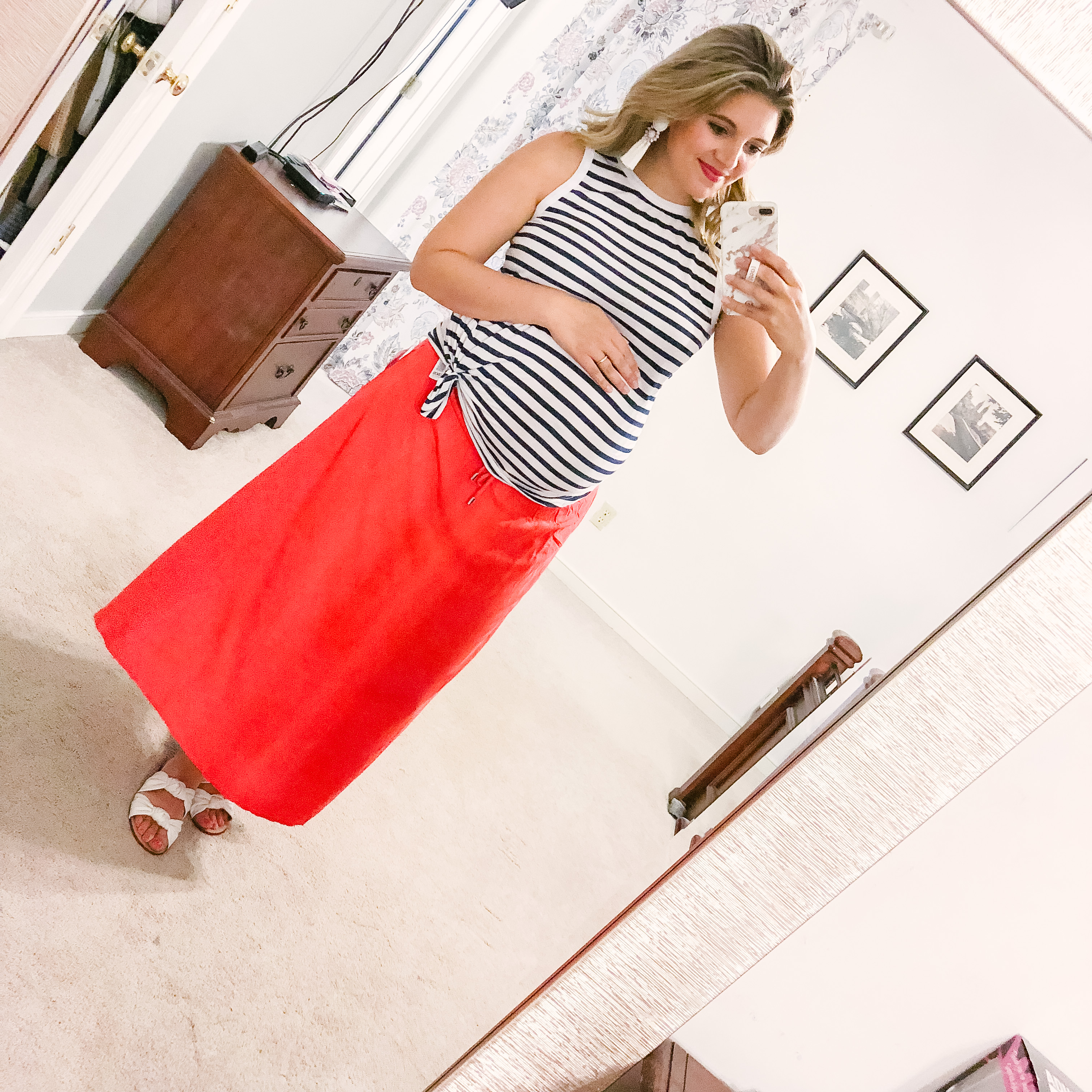 4th of july bump outfit - striped tank and maxi skirt | | patriotic outfit roundup - come see over 15 4th of july outfit ideas! bylaurenm.com
