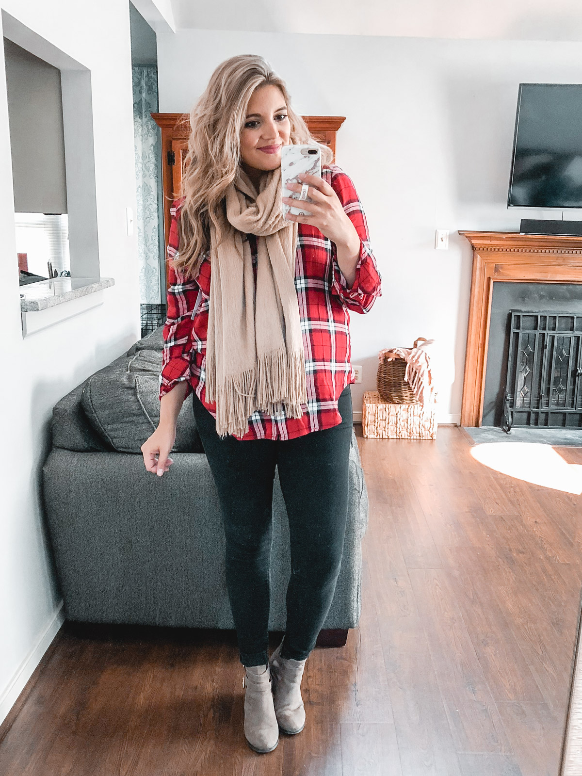 plaid top with a scarf outfit - Need plaid top outfit ideas? I'm sharing one $31 plaid top styled 15 different ways on bylaurenm.com!