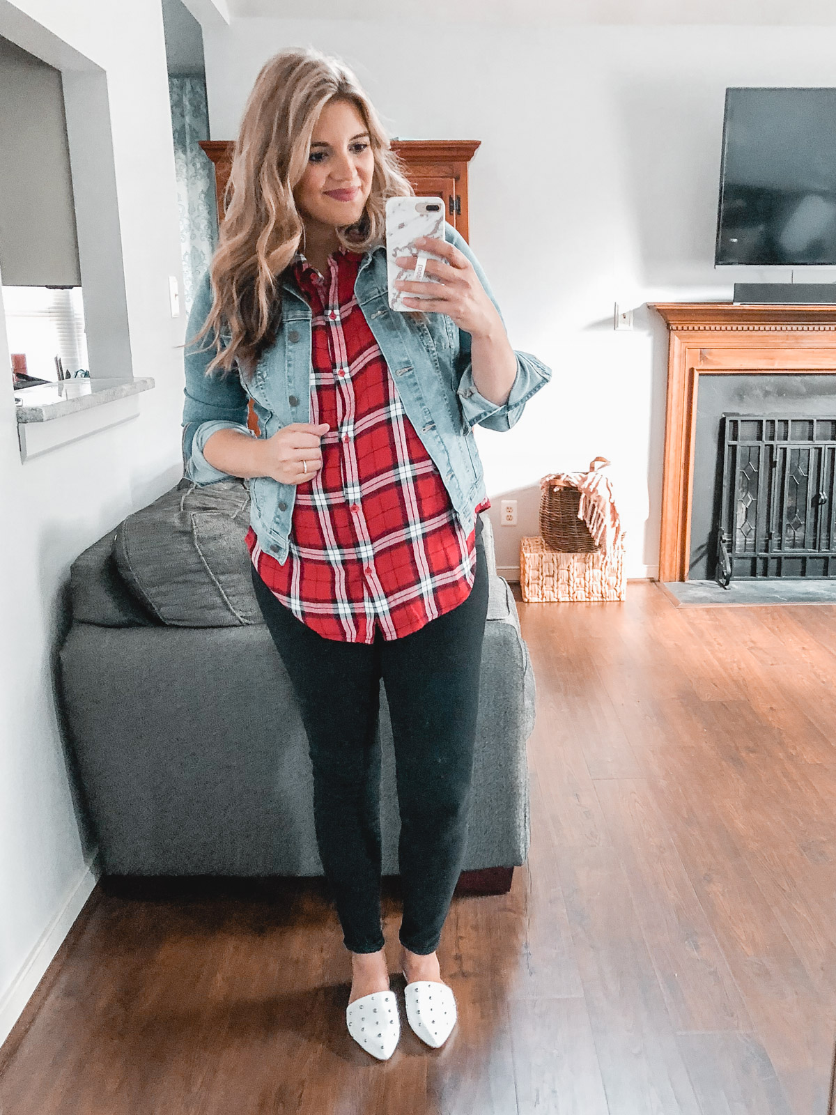 casual plaid top outfit - denim jacket and plaid top | Need plaid top outfit ideas? I'm sharing one $31 plaid top styled 15 different ways on bylaurenm.com!