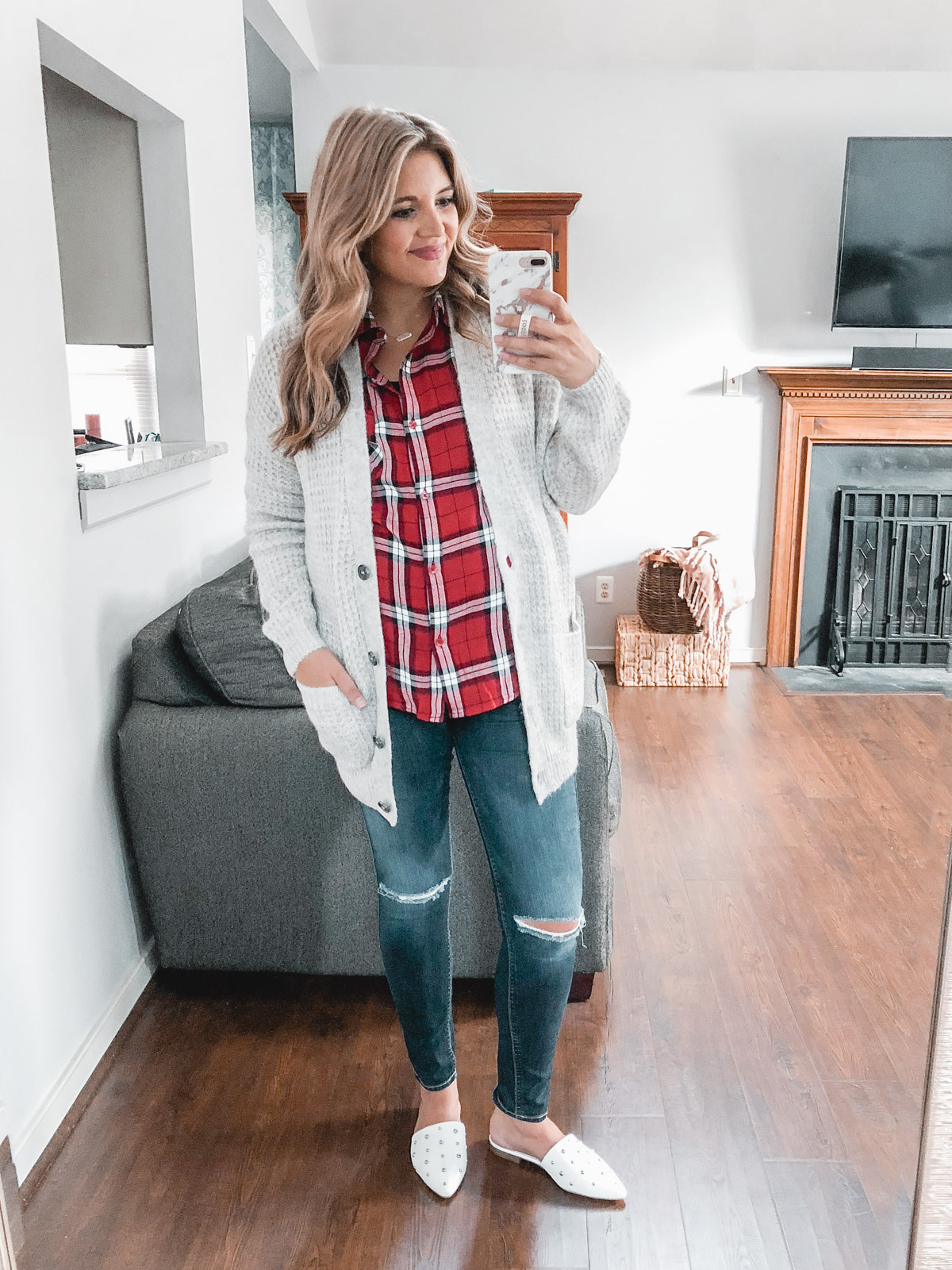 best plaid top outfit ideas: grandpa cardigan with distressed jeans and studded mules - Need plaid top outfit ideas? I'm sharing one $31 plaid top styled 15 different ways on bylaurenm.com!