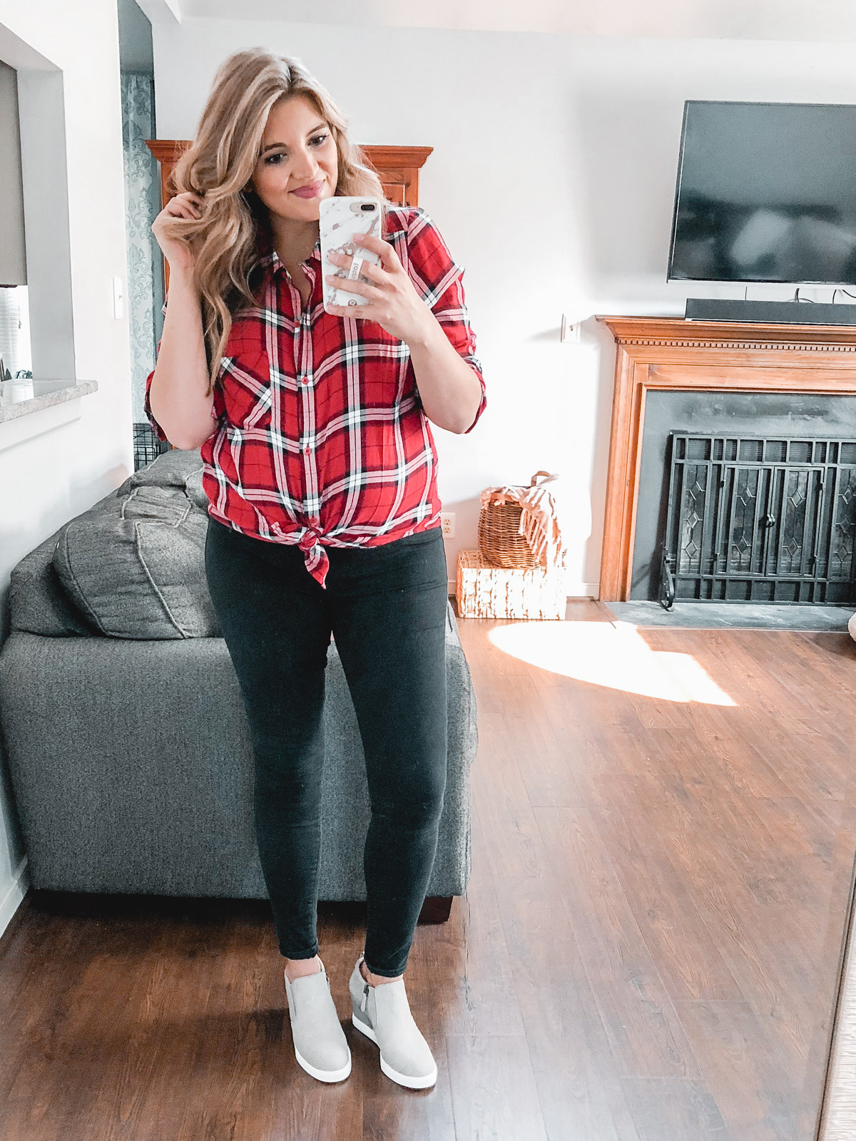 knotted plaid top with jeans - Need plaid top outfit ideas? I'm sharing one $31 plaid top styled 15 different ways on bylaurenm.com!