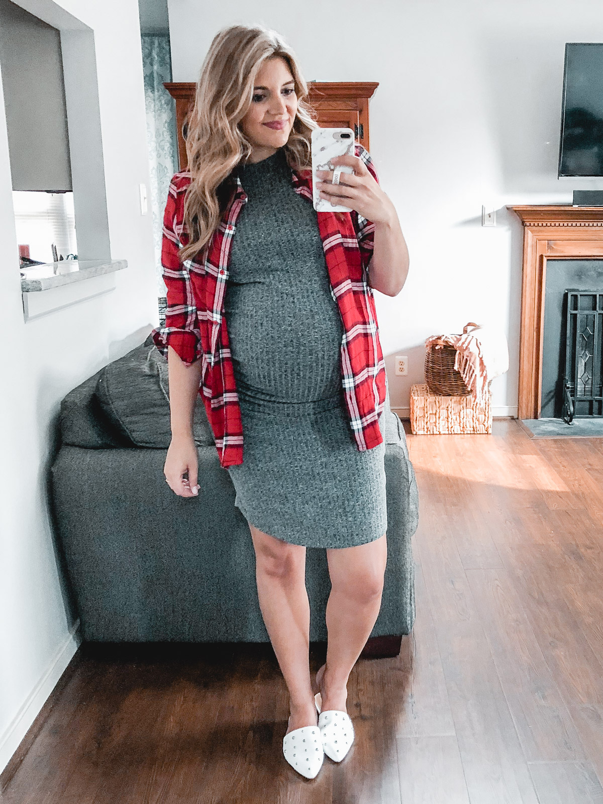 plaid top pregnancy outfit - fall pregnancy | Need plaid top outfit ideas? I'm sharing one $31 plaid top styled 15 different ways on bylaurenm.com!