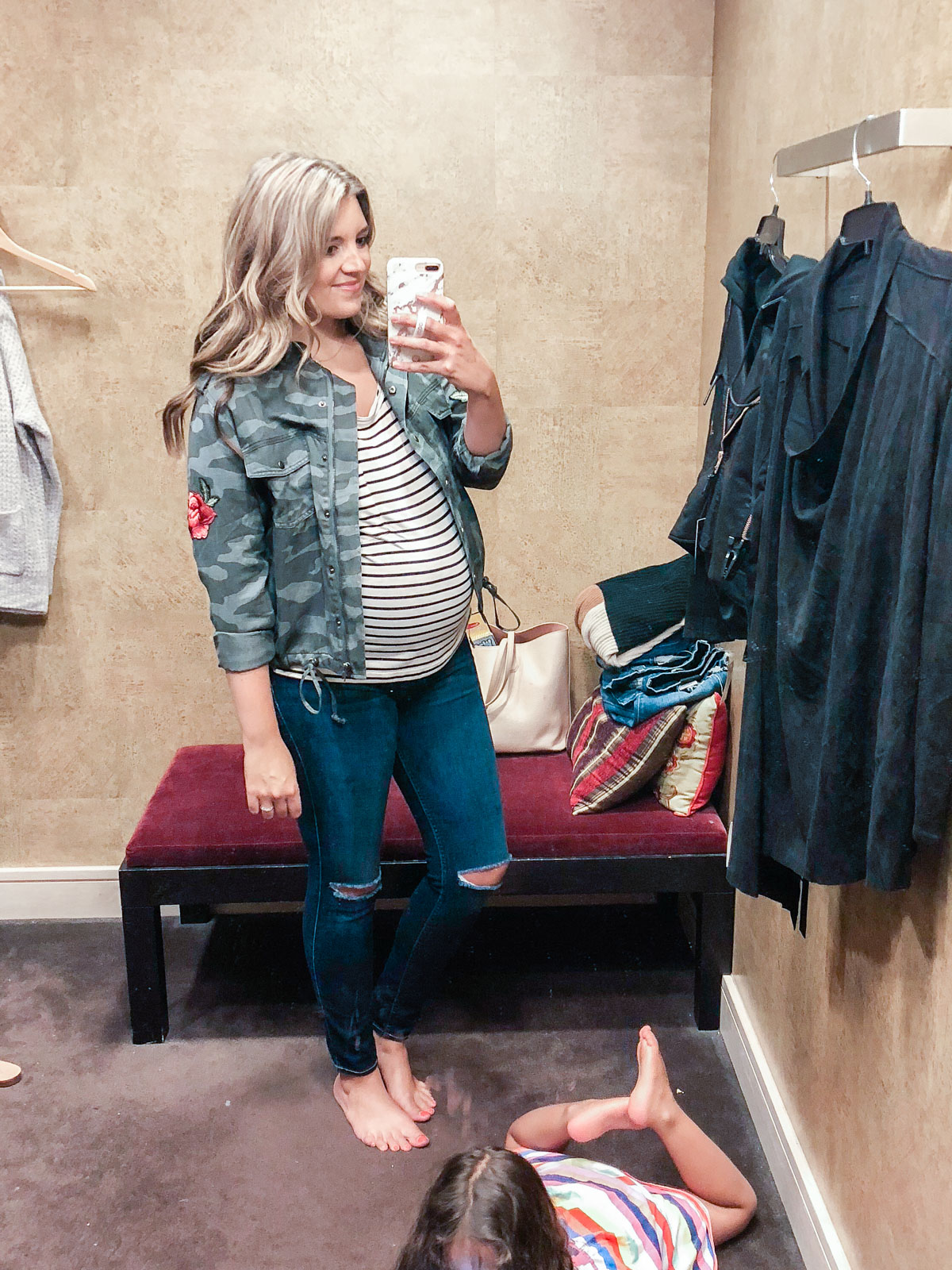 camo jacket and stripe tee - Nordstrom anniversary sale 2018 try-on session: over 25 items reviewed for fit and size! | bylaurenm.com