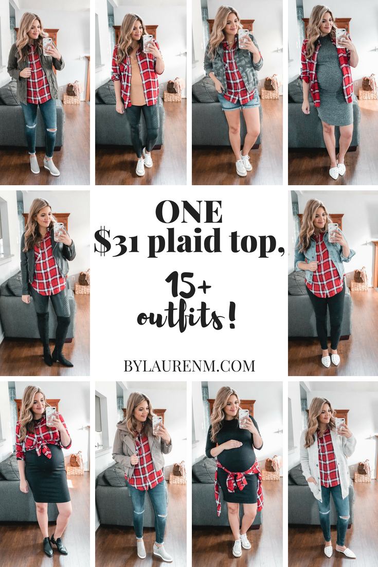 Need plaid top outfit ideas? I'm sharing one $31 plaid top styled 15+ different ways on bylaurenm.com!