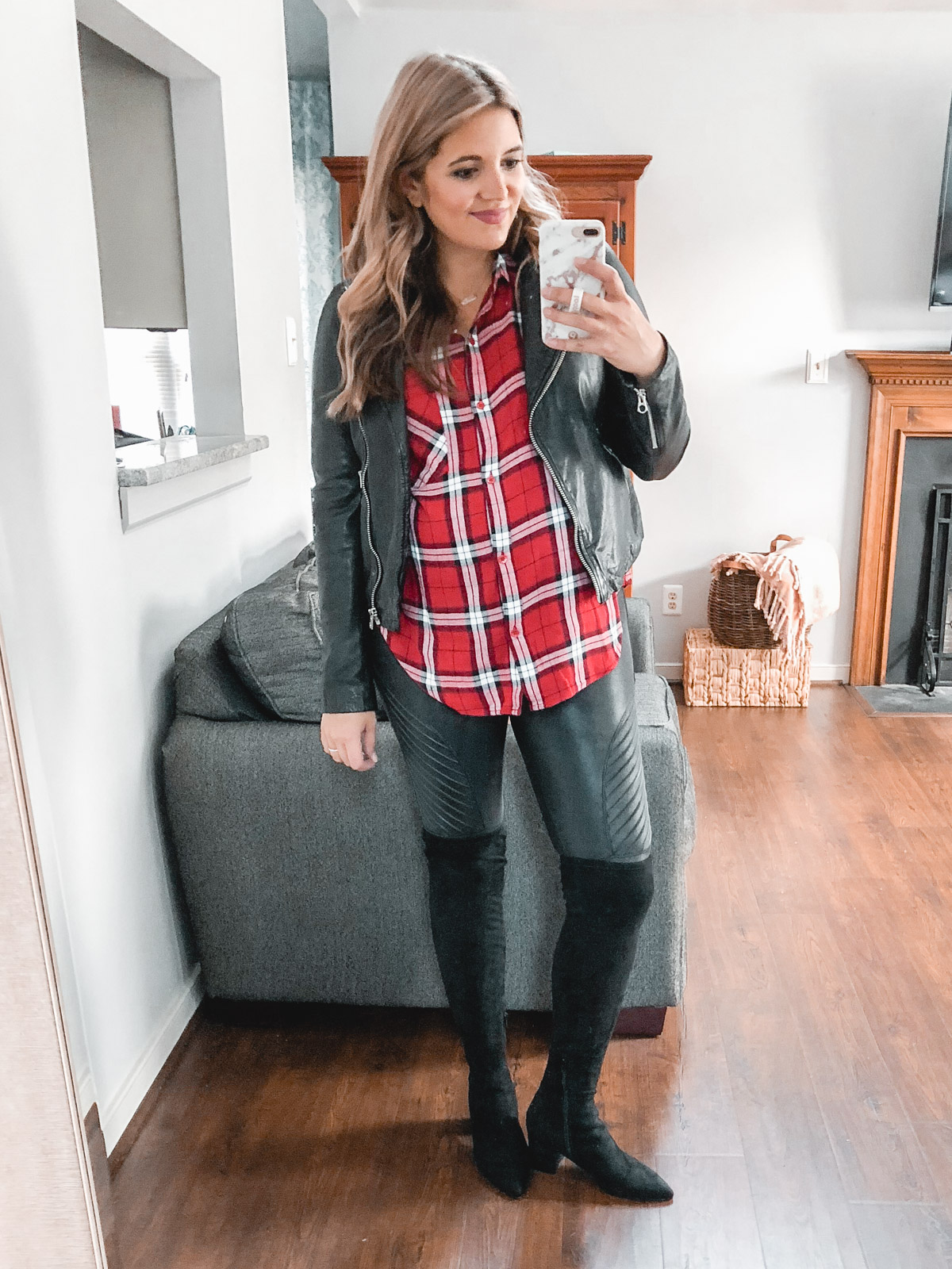 leggings plaid top outfit - Need plaid top outfit ideas? I'm sharing one $31 plaid top styled 15 different ways on bylaurenm.com!
