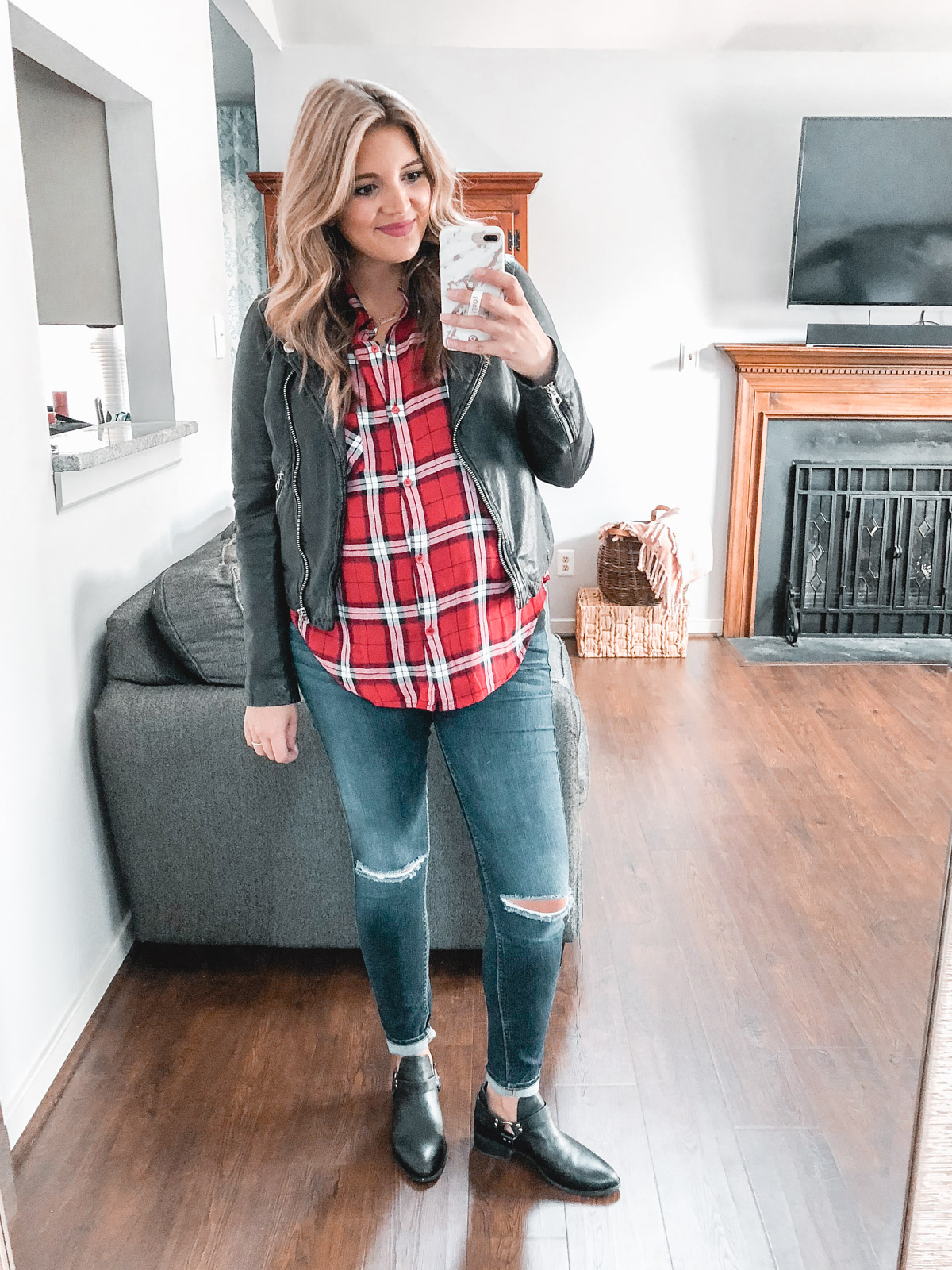 moto jacket plaid top outfit - Need plaid top outfit ideas? I'm sharing one $31 plaid top styled 15 different ways on bylaurenm.com!