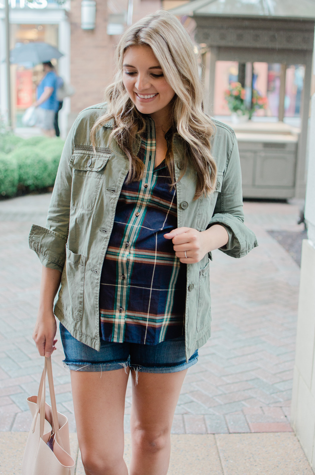 early fall maternity style - plaid top with shorts and utility jacket | bylaurenm.com
