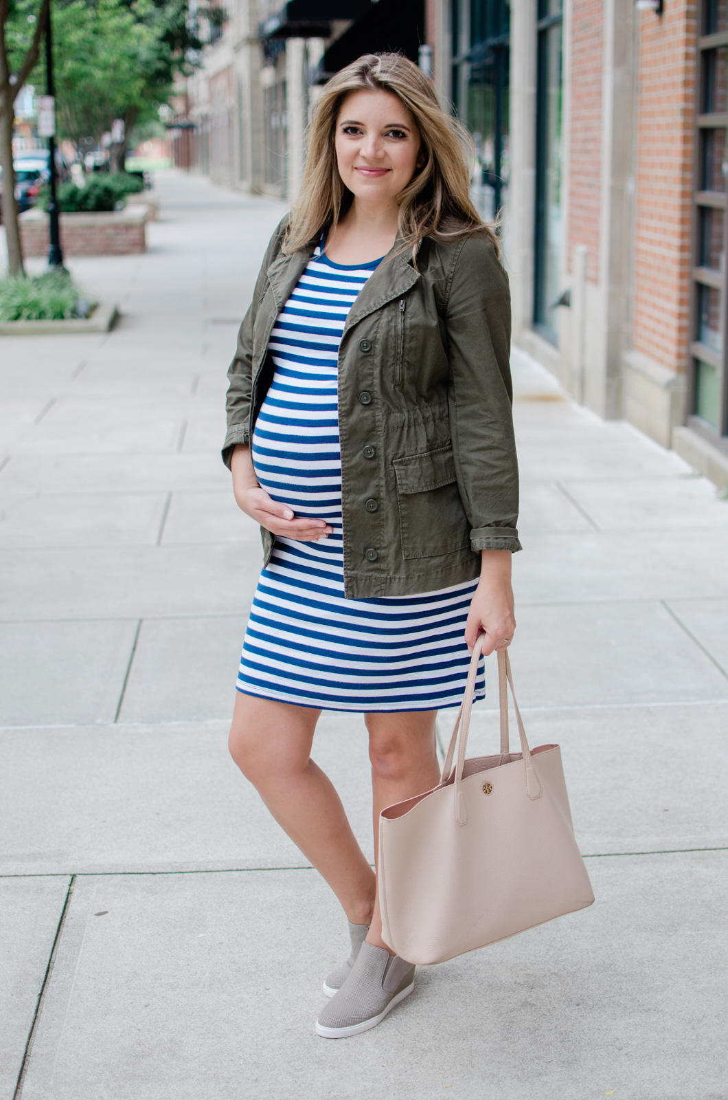Maternity Style Stripes Cargo Jacket By Lauren M