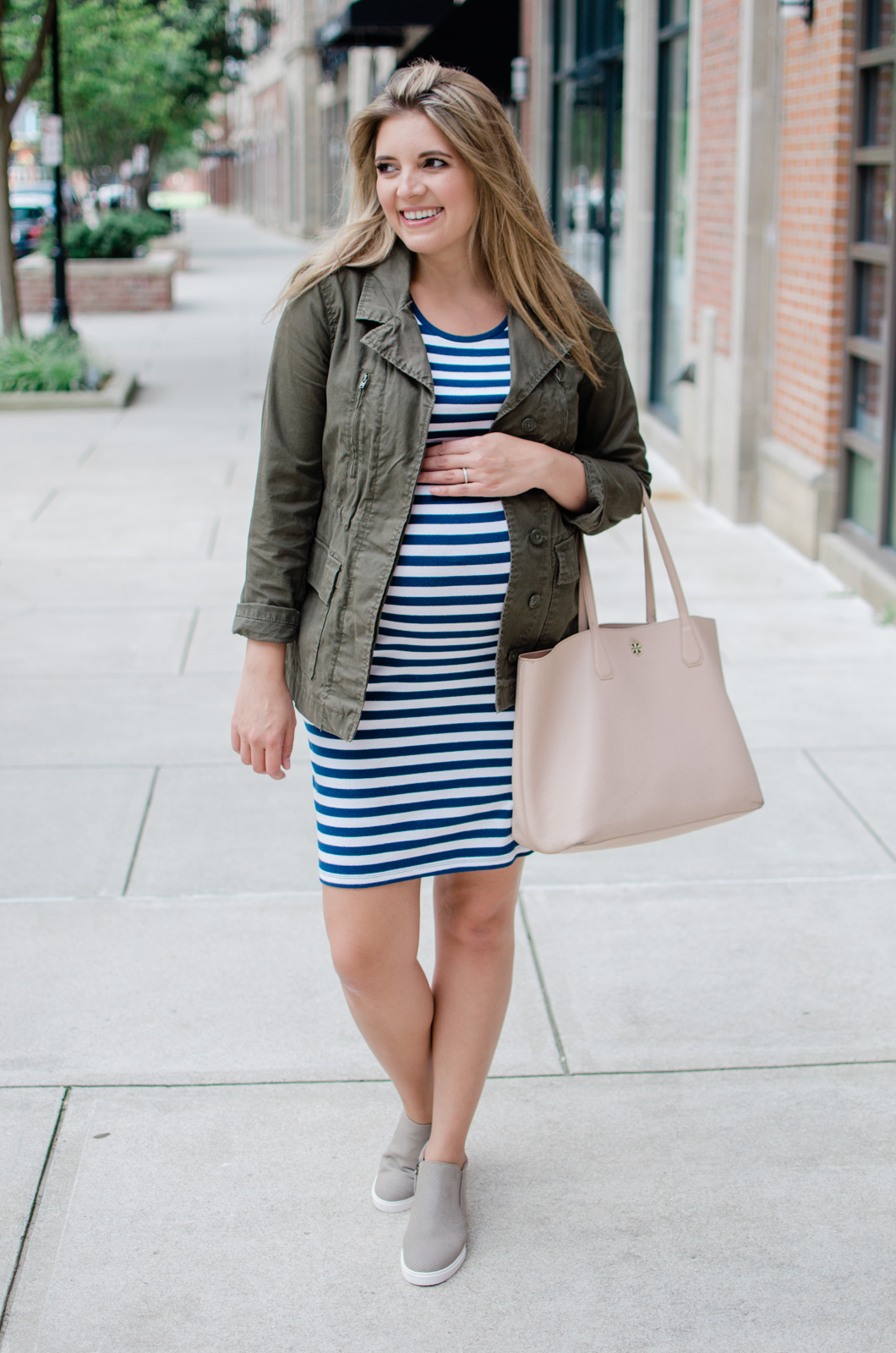 maternity outfit - fall pregnancy outfit idea with stripe maternity dress and a cargo jacket | bylaurenm.com
