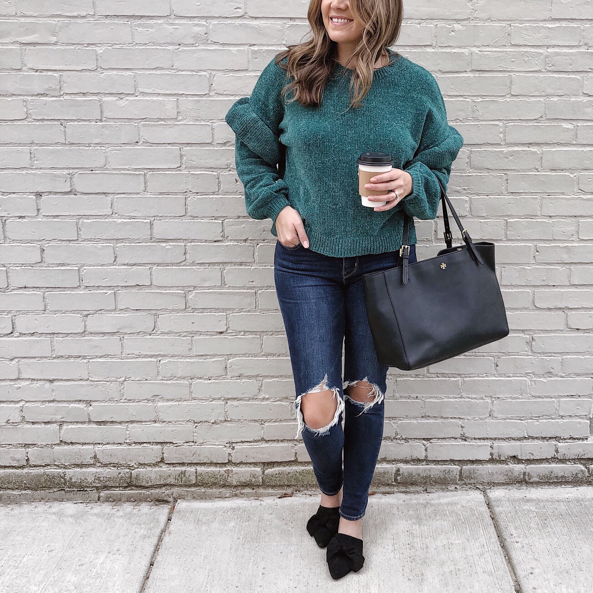 fall busted knee jeans outfit - how wear chenille sweater | bylaurenm.com