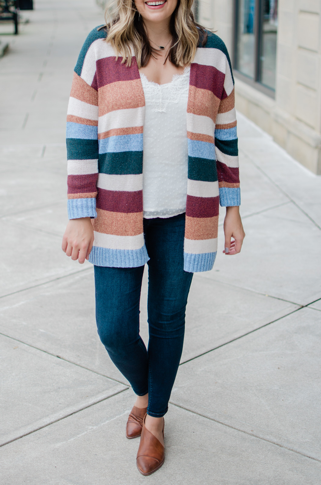 fall striped cardigan outfit - bylaurenm.com