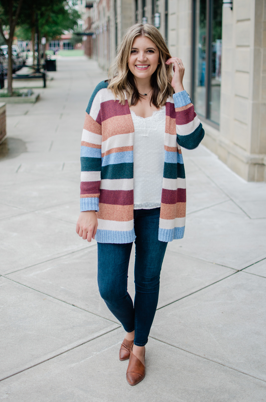 fall striped cardigan outfit with free people royal flat | bylaurenm.com