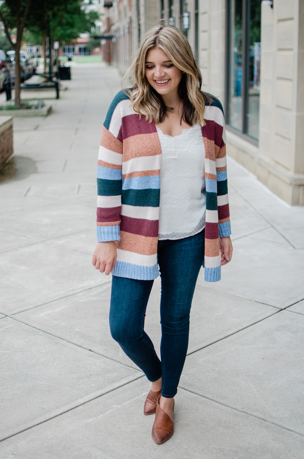 striped cardigan outfit for fall - how to wear a long stripe cardigan | bylaurenm.com