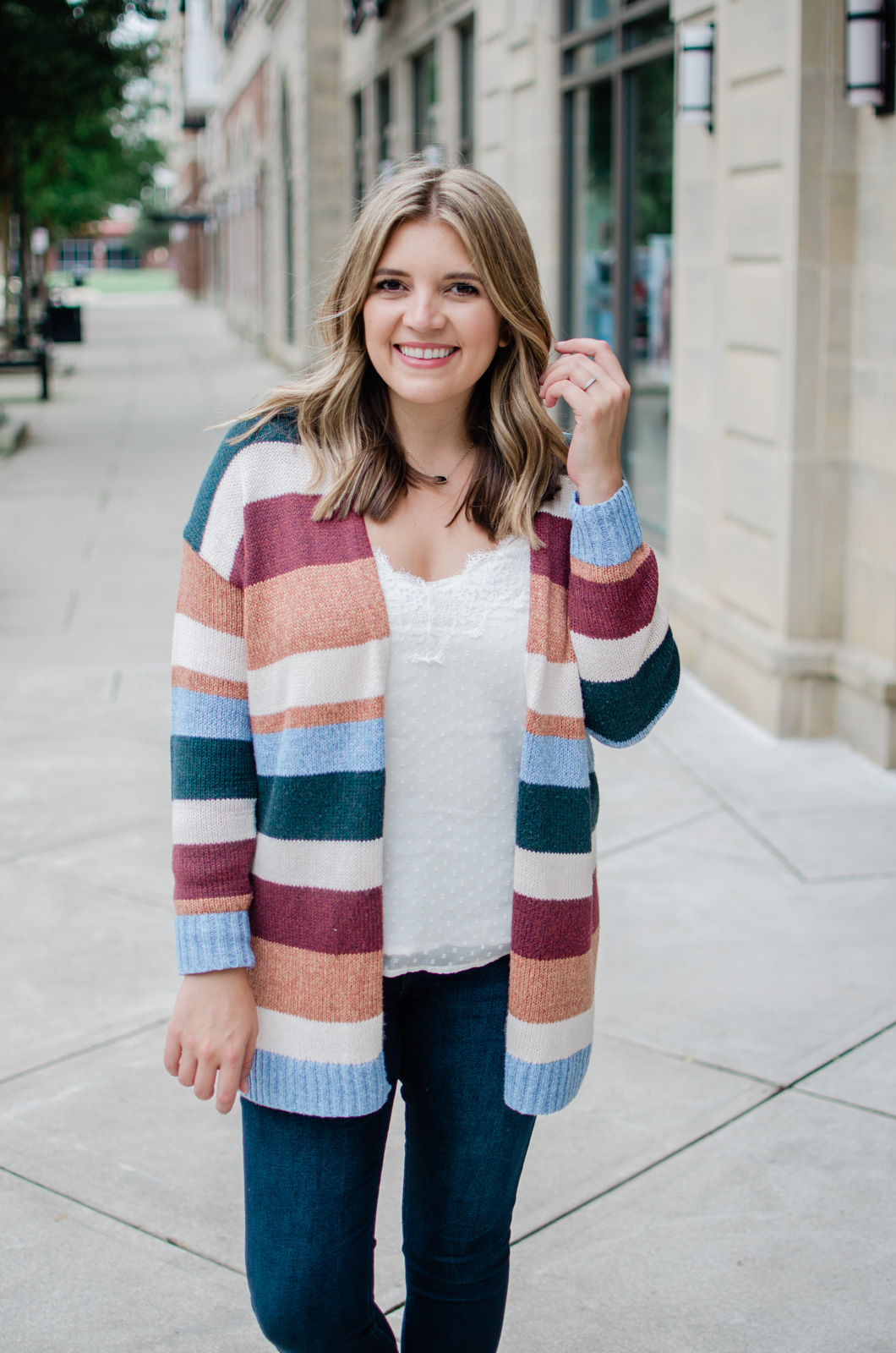 fall wardrobe favorites - fall striped cardigan outfit bylaurenm.com