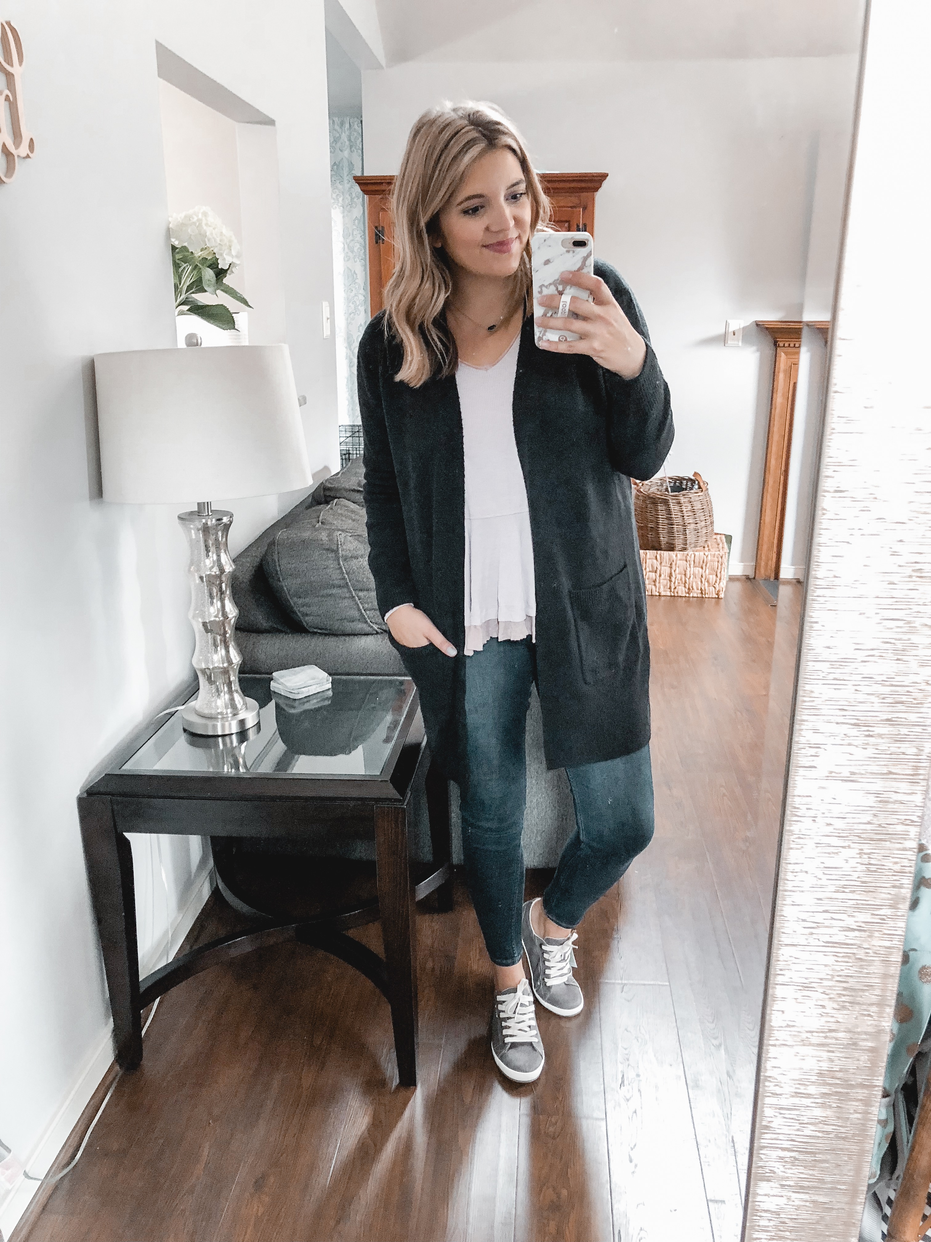madewell long cardigan trunk club september review - nursing-friendly try-on session and reviews! bylaurenm.com