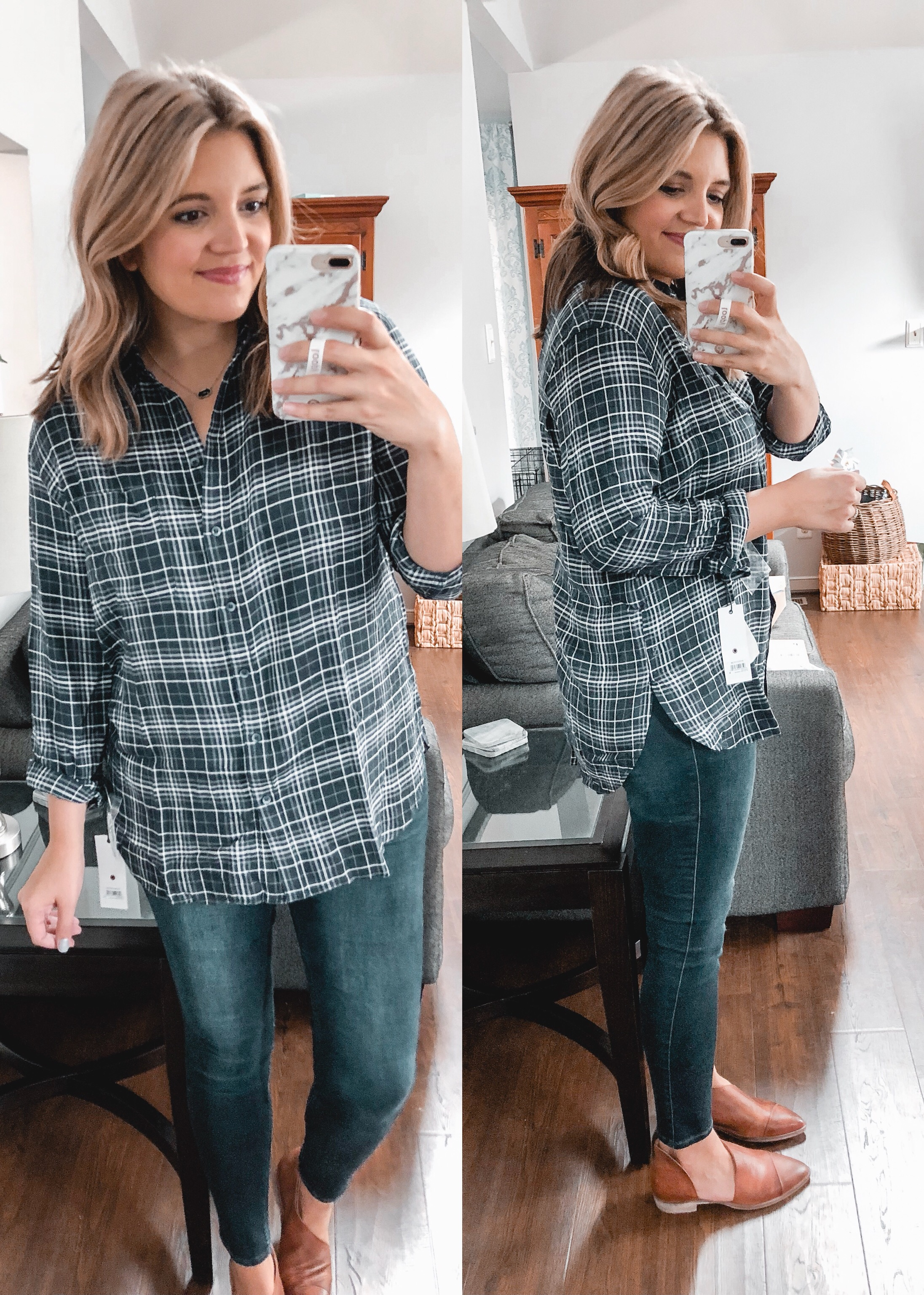 long plaid tunic - trunk club september review - nursing-friendly try-on session and reviews! bylaurenm.com