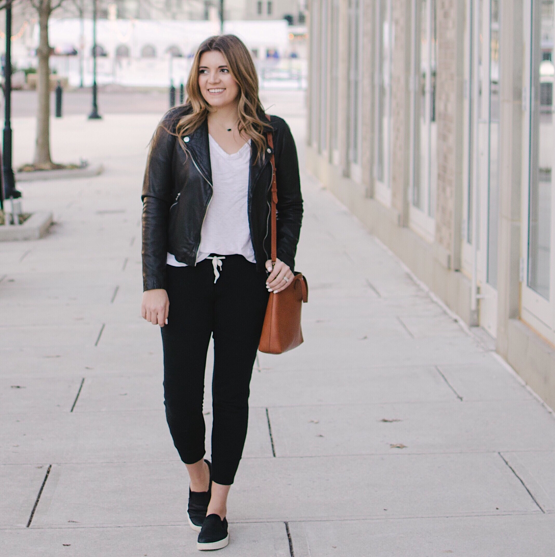 joggers with leather jacket winter outfit