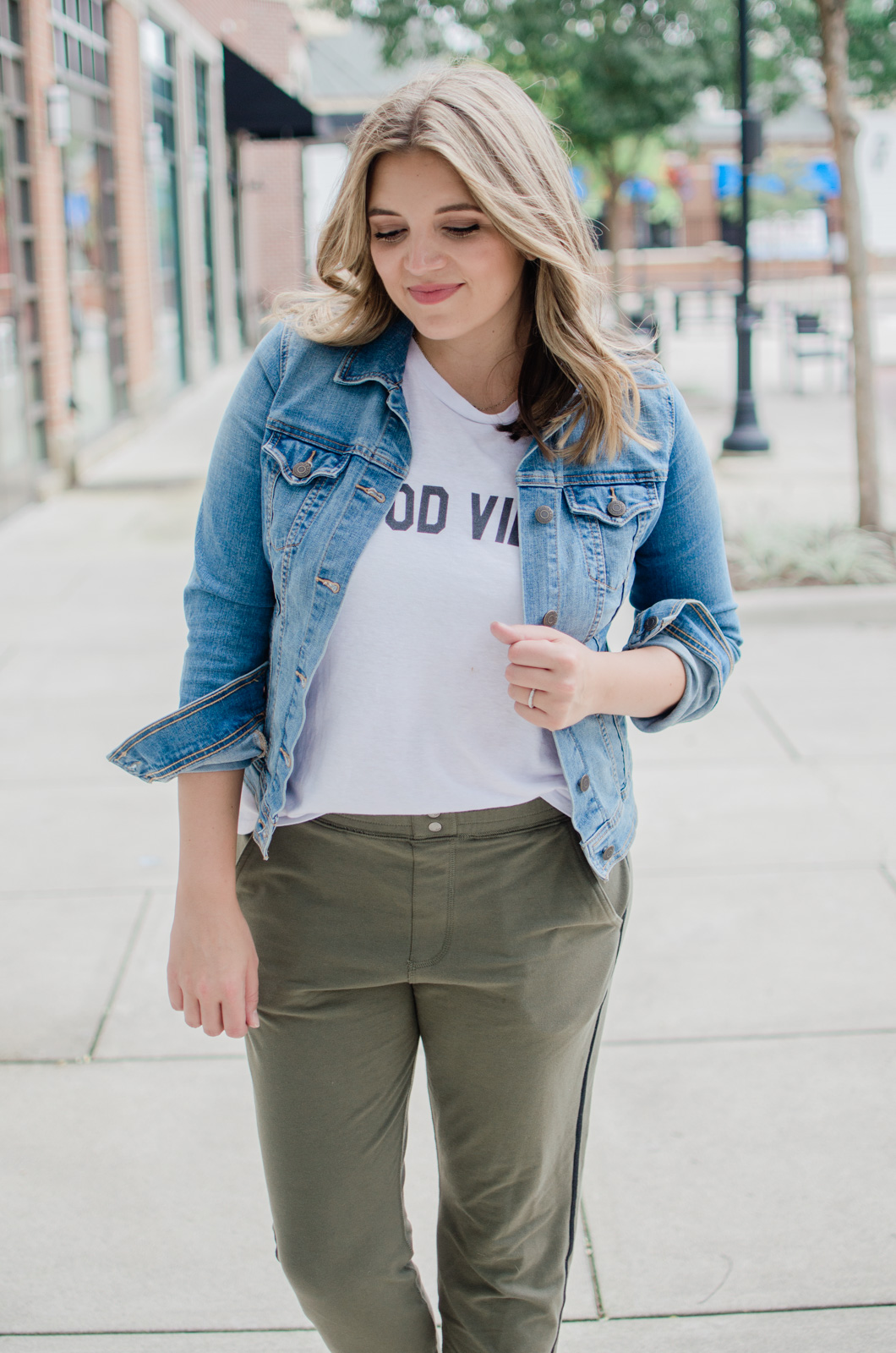 olive jogger pants outfit - casual stripe jogger pants outfit | bylaurenm.com