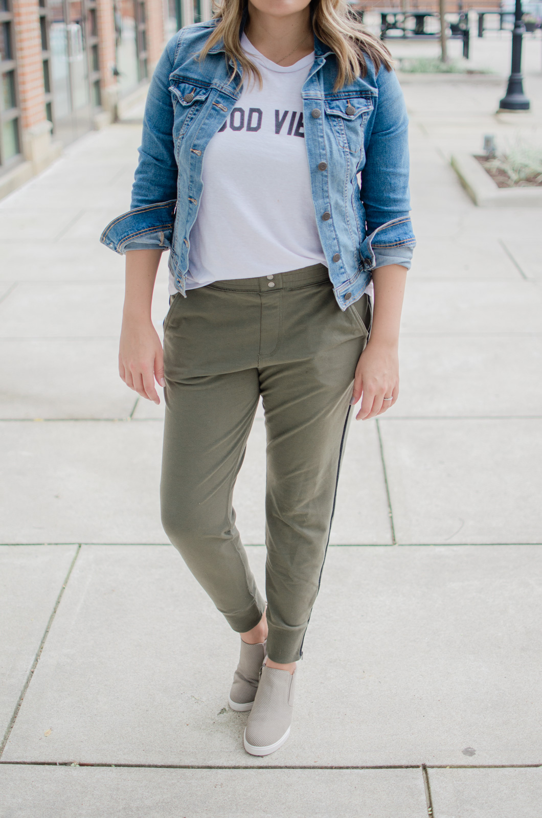 casual stripe jogger pants outfit - cute olive jogger pants outfit | bylaurenm.com