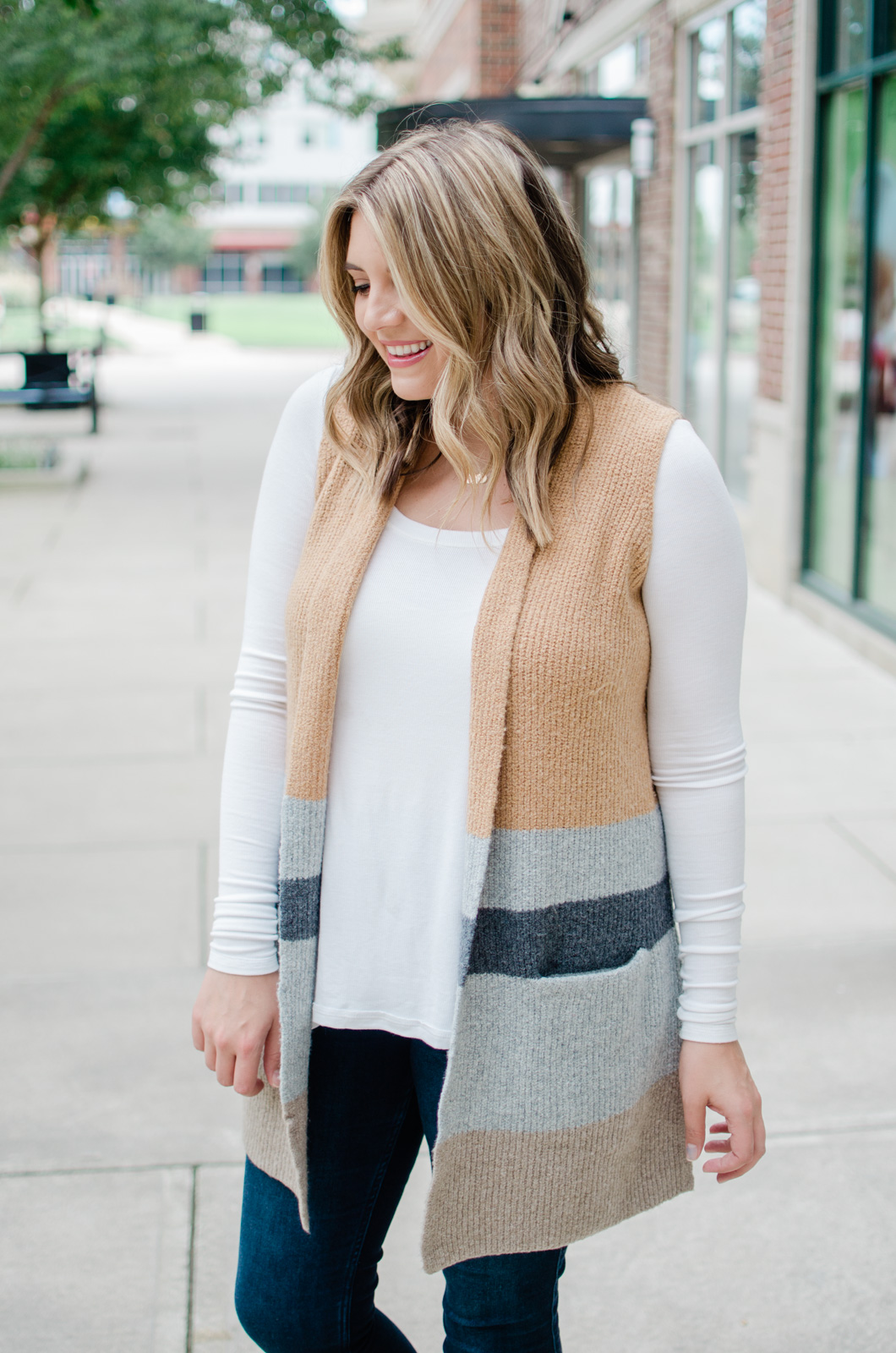 fall long sweater vest outfit - how to wear an open sweater vest outfit for fall! | bylaurenm.com