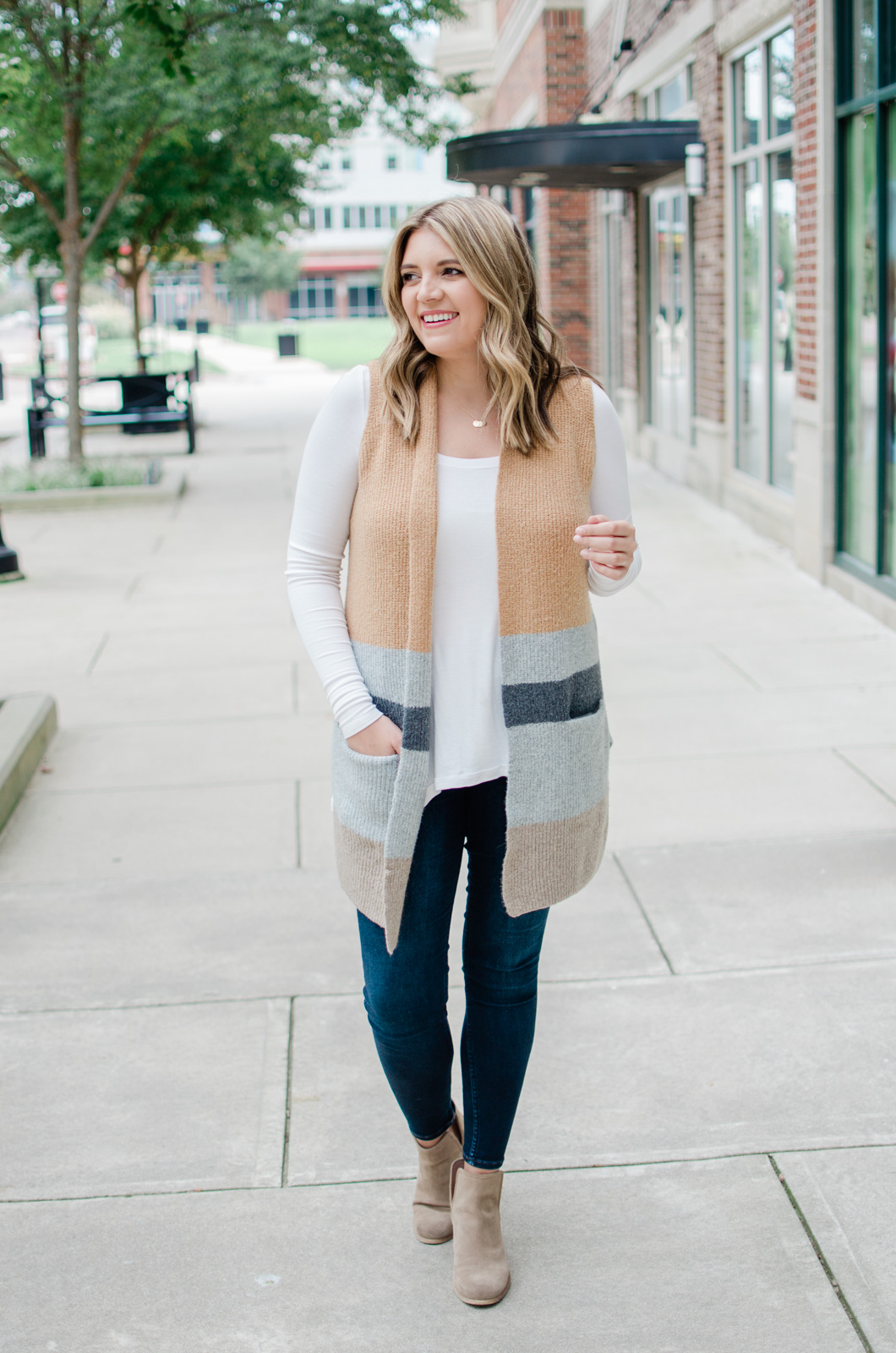 long sweater vest outfit - how to wear an open sweater vest outfit for fall! | bylaurenm.com