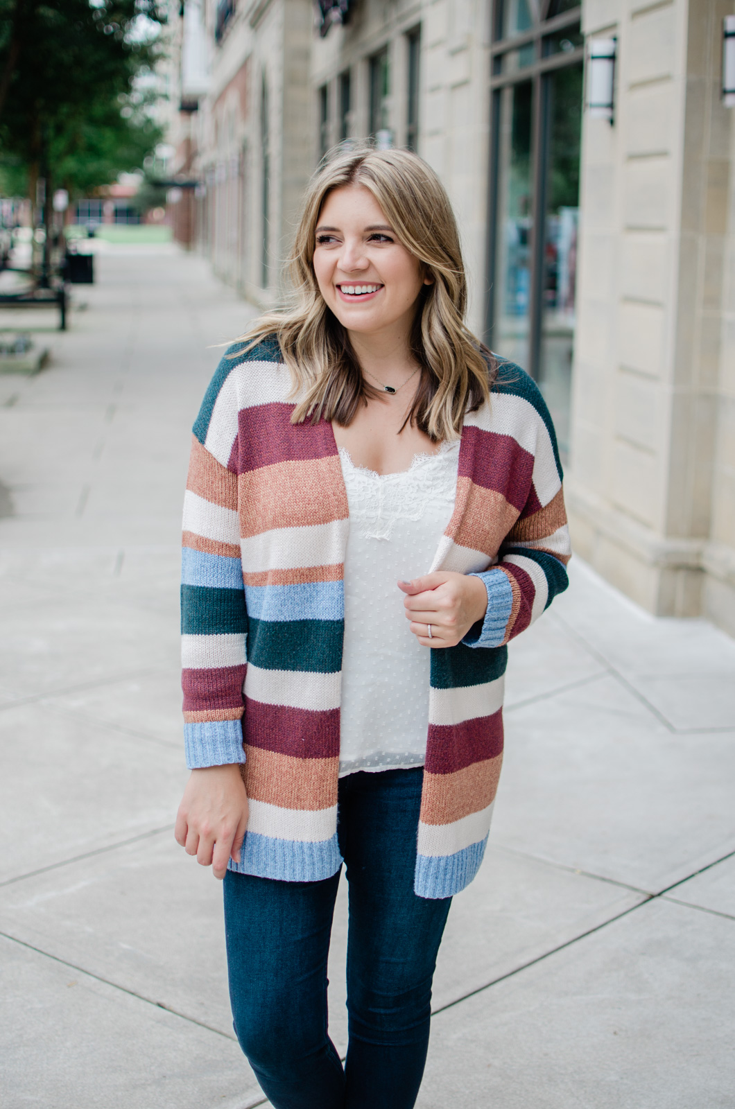 how to wear a striped cardi - striped cardigan outfit fall | bylaurenm.com