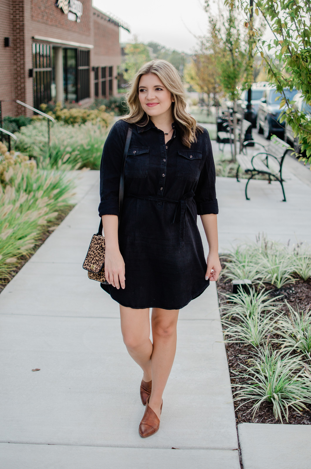 black denim shirt dress outfit - fall shirt dress outfit | bylaurenm.com